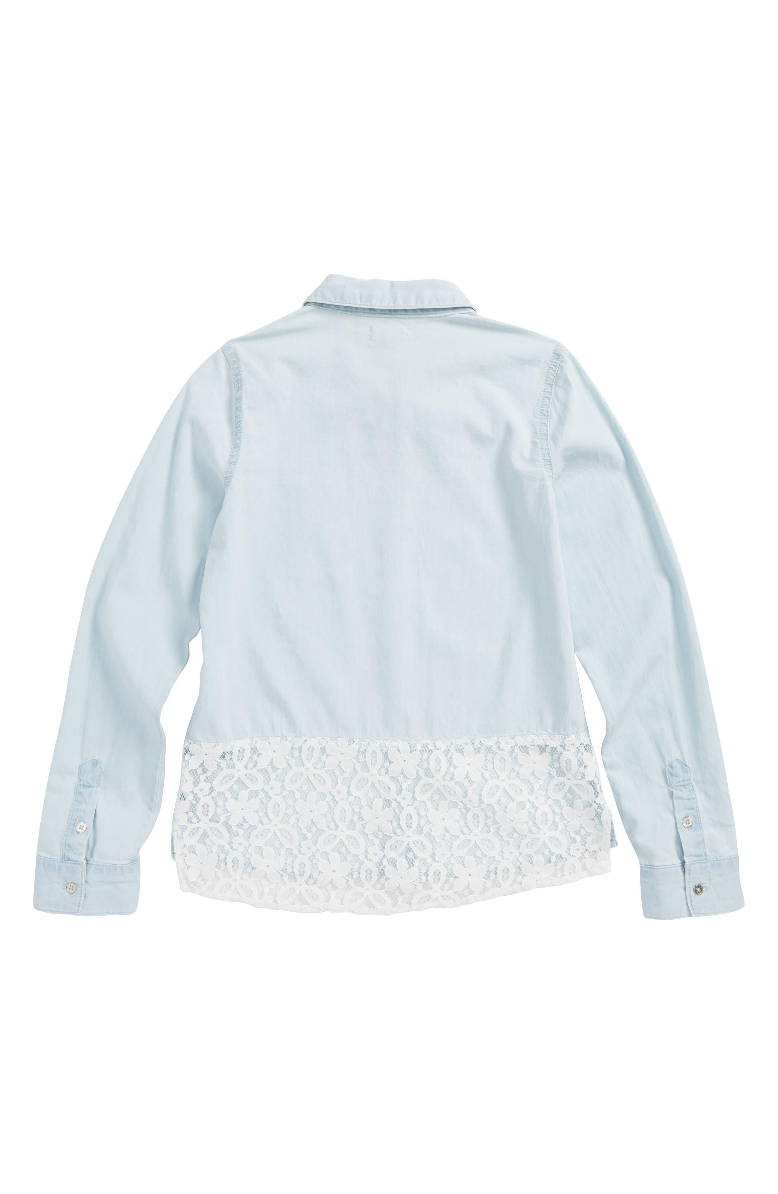 Chambray Lace Trim Shirt,                             Alternate thumbnail 2, color,                             Light Wash