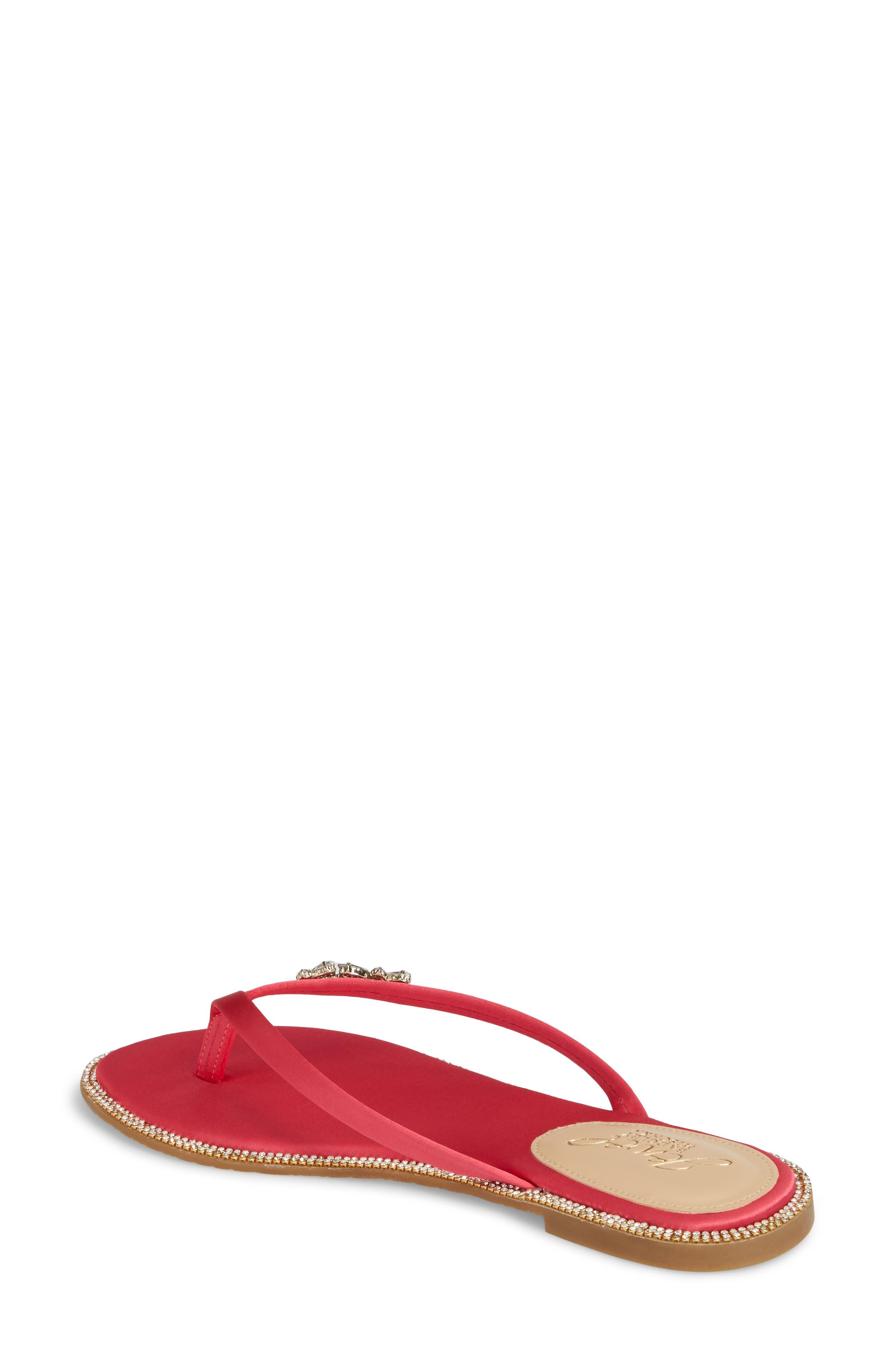Thalia Crystal Embellished Flip Flop,                             Alternate thumbnail 2, color,                             Pink Leather
