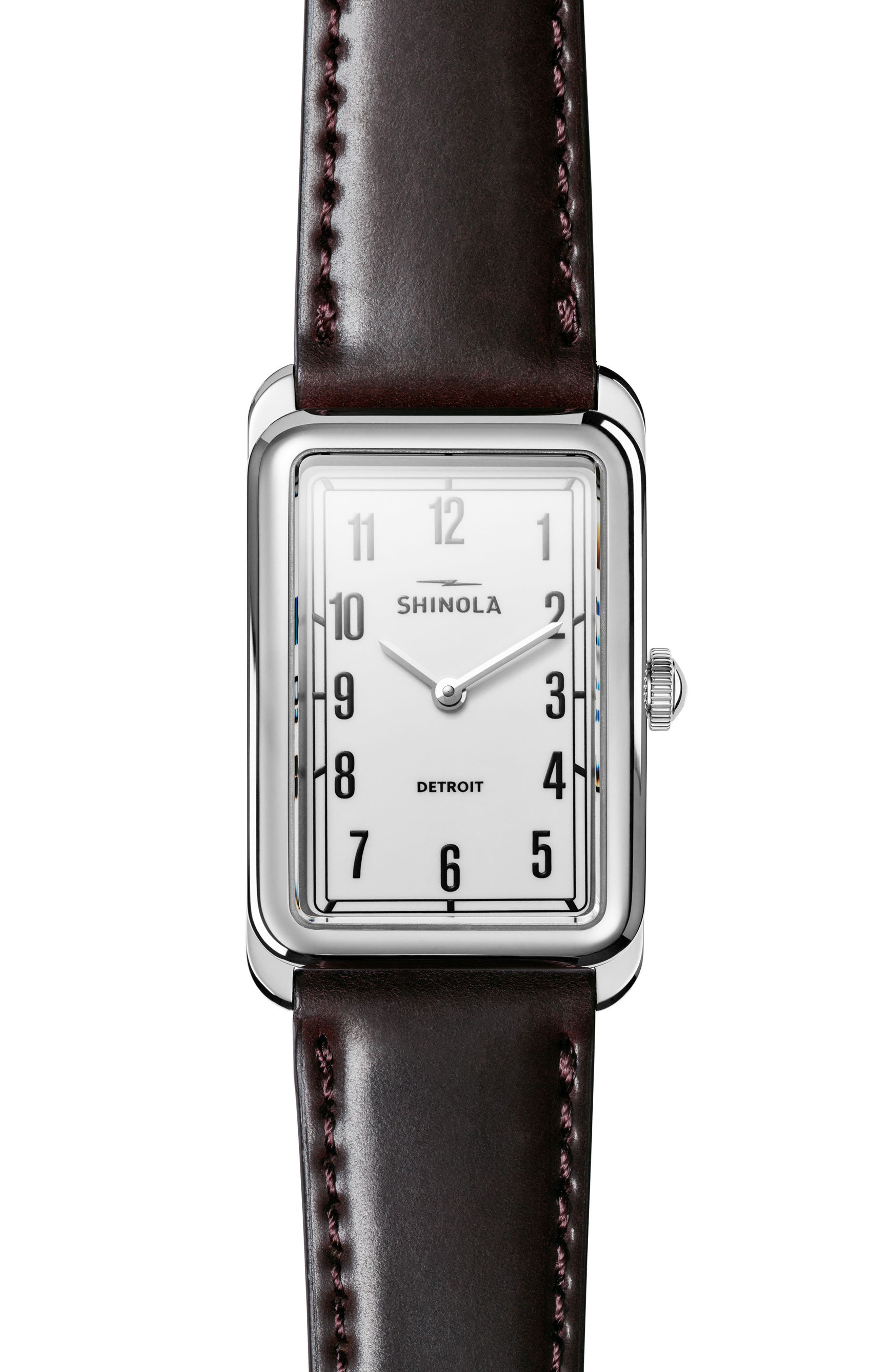The Muldowney Rectangular Leather Strap Watch, 24mm x 32mm,                         Main,                         color, Brown/ White/ Silver