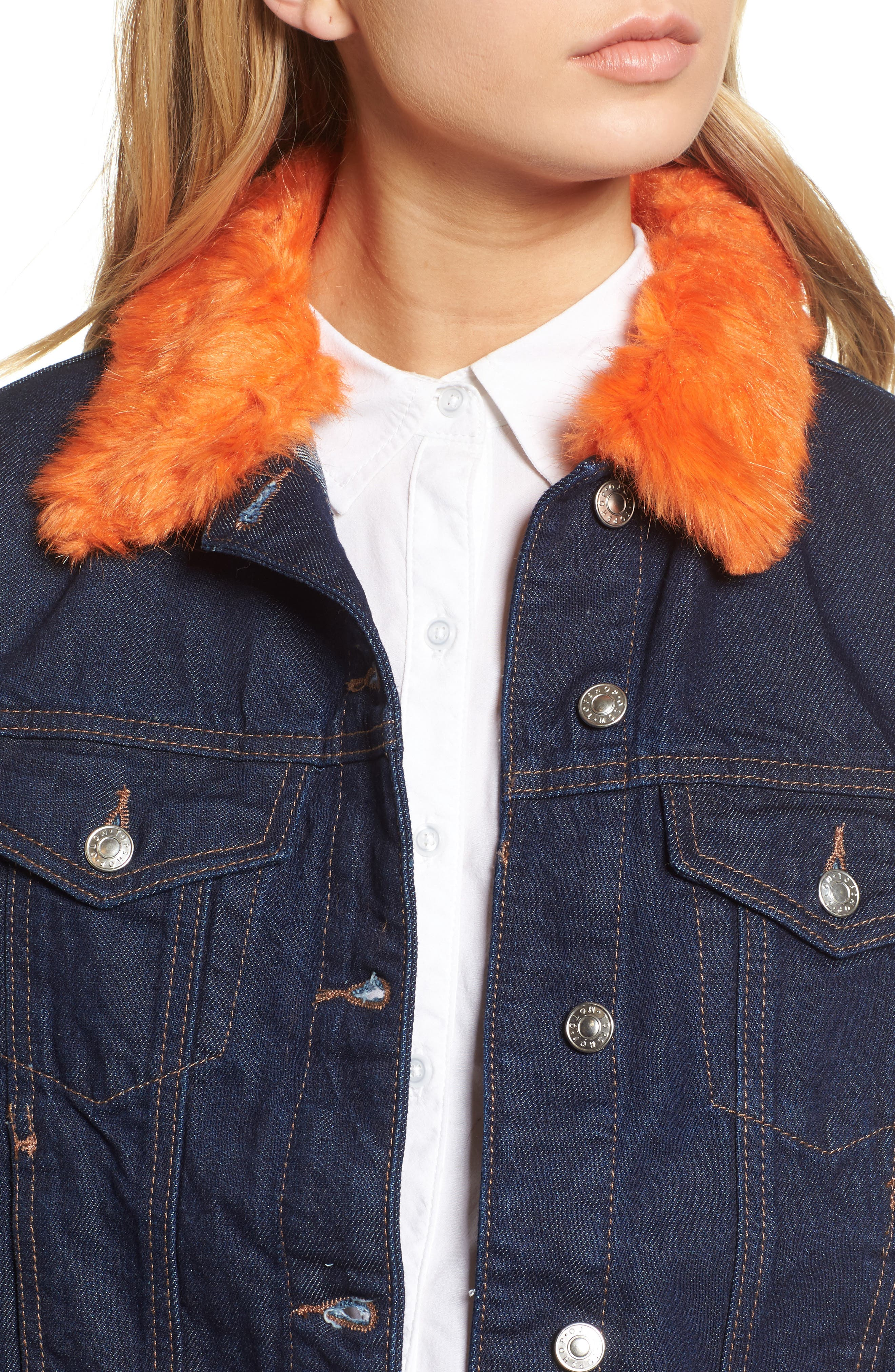 Tilda Faux Fur Trim Denim Jacket,                             Alternate thumbnail 5, color,                             Indigo Multi