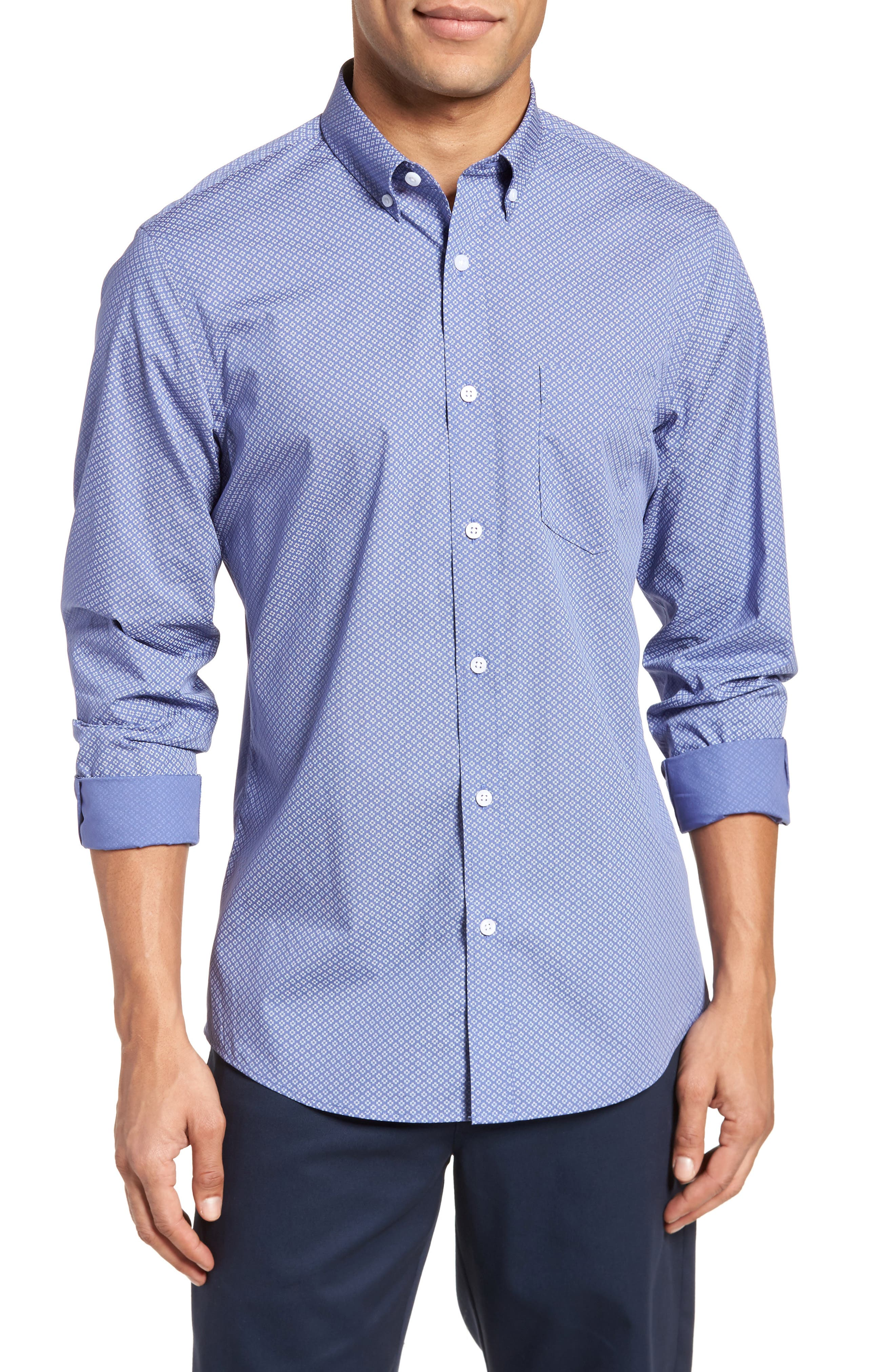 Non-Iron Print Sport Shirt,                         Main,                         color, Blue White Micro Zia