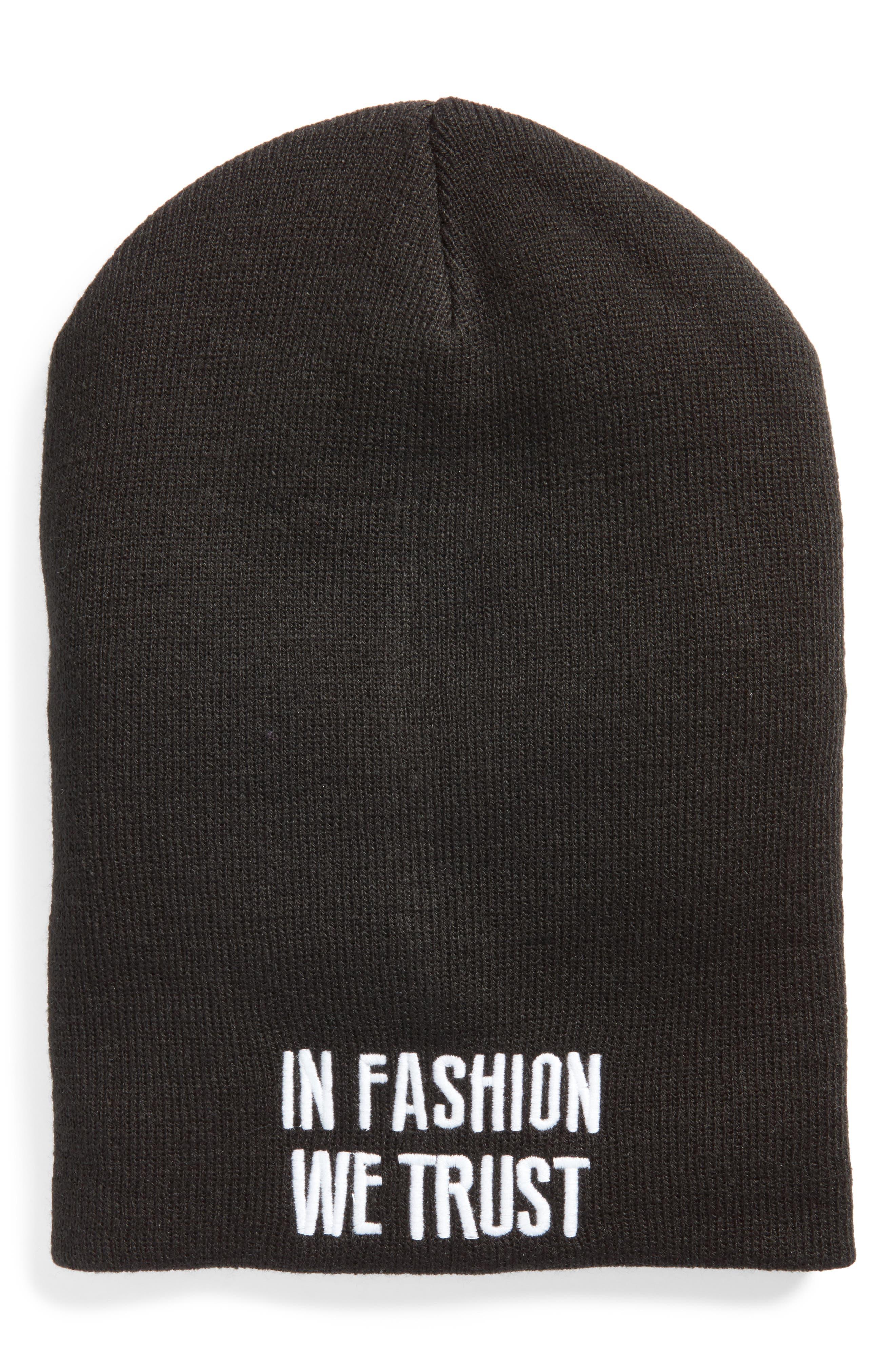 In Fashion We Trust Beanie,                             Main thumbnail 1, color,                             Black