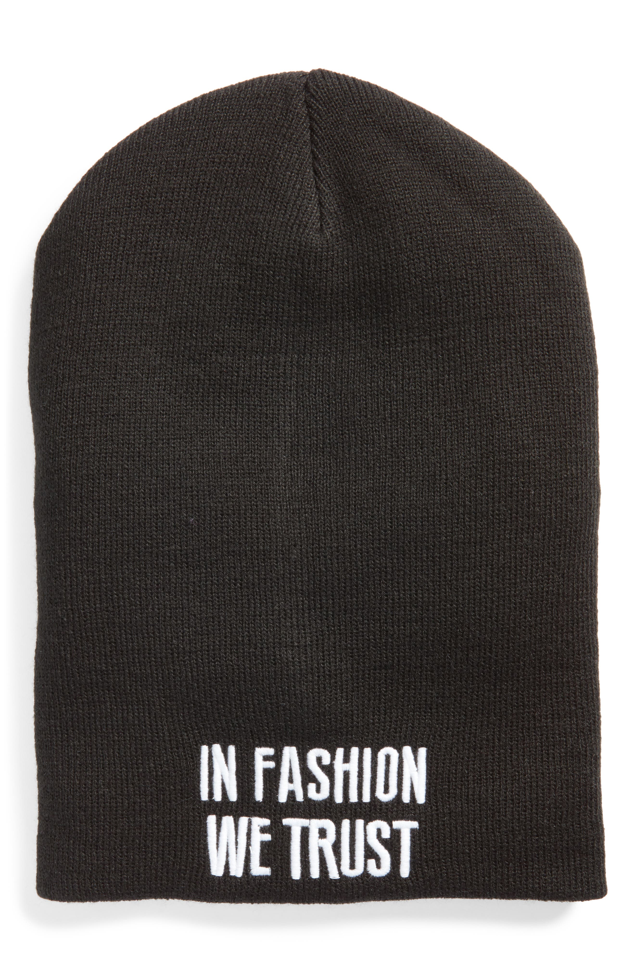 In Fashion We Trust Beanie,                         Main,                         color, Black