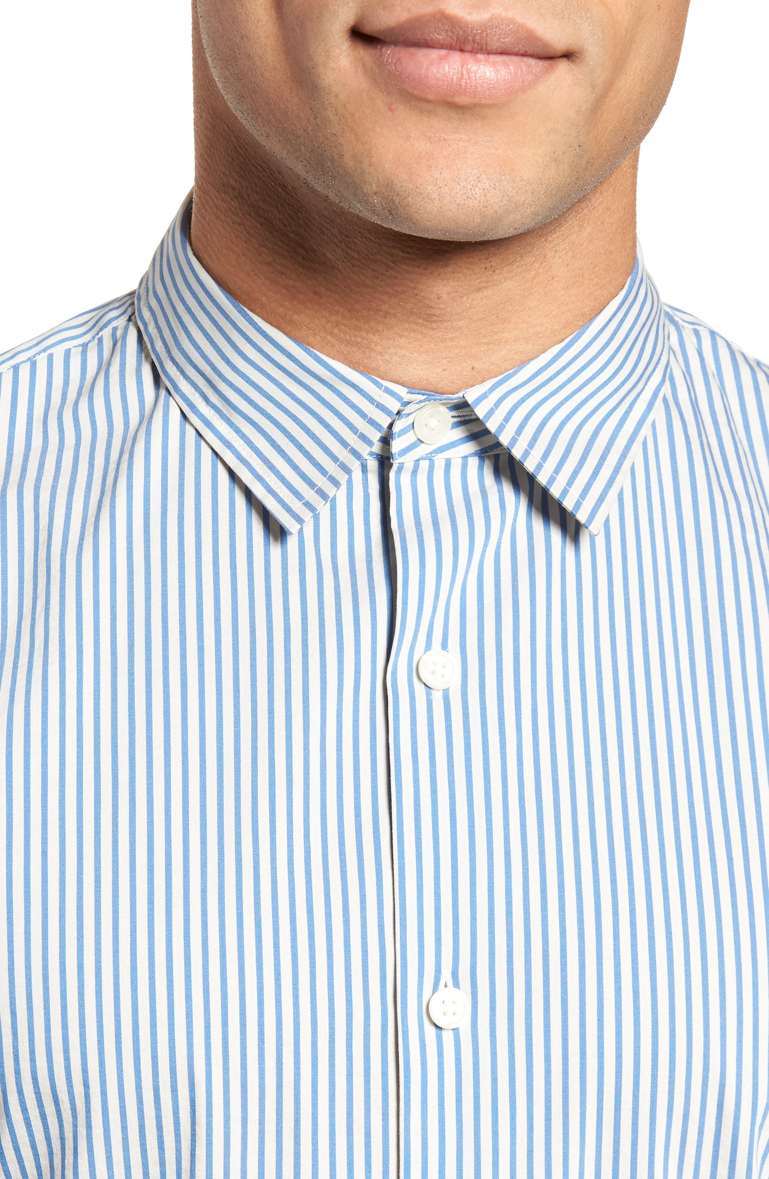 Regular Fit Stripe Sport Shirt,                             Alternate thumbnail 4, color,                             White/ Ocean Blue