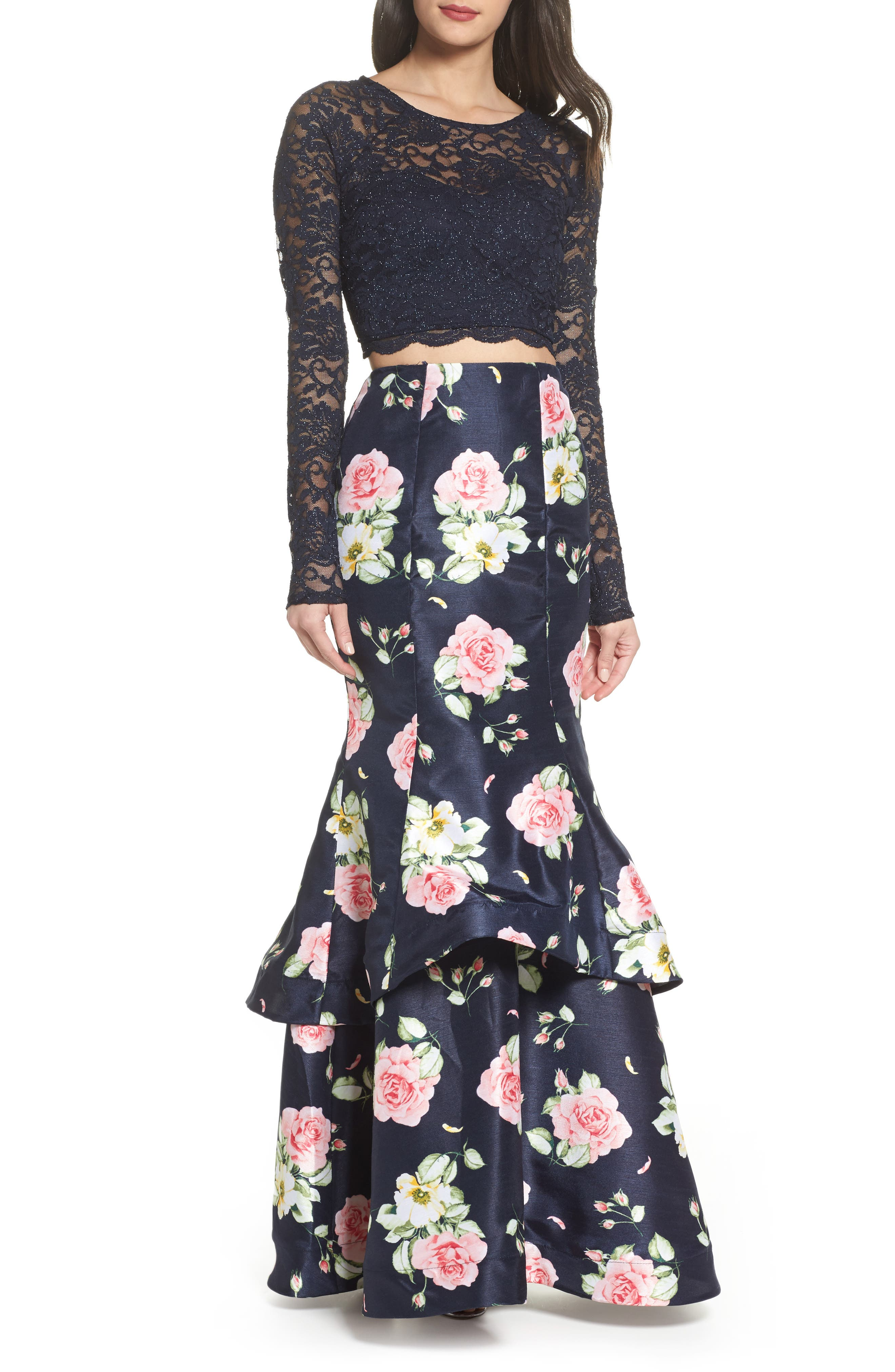 Floral & Lace Two-Piece Gown,                             Main thumbnail 1, color,                             Navy/ Rose