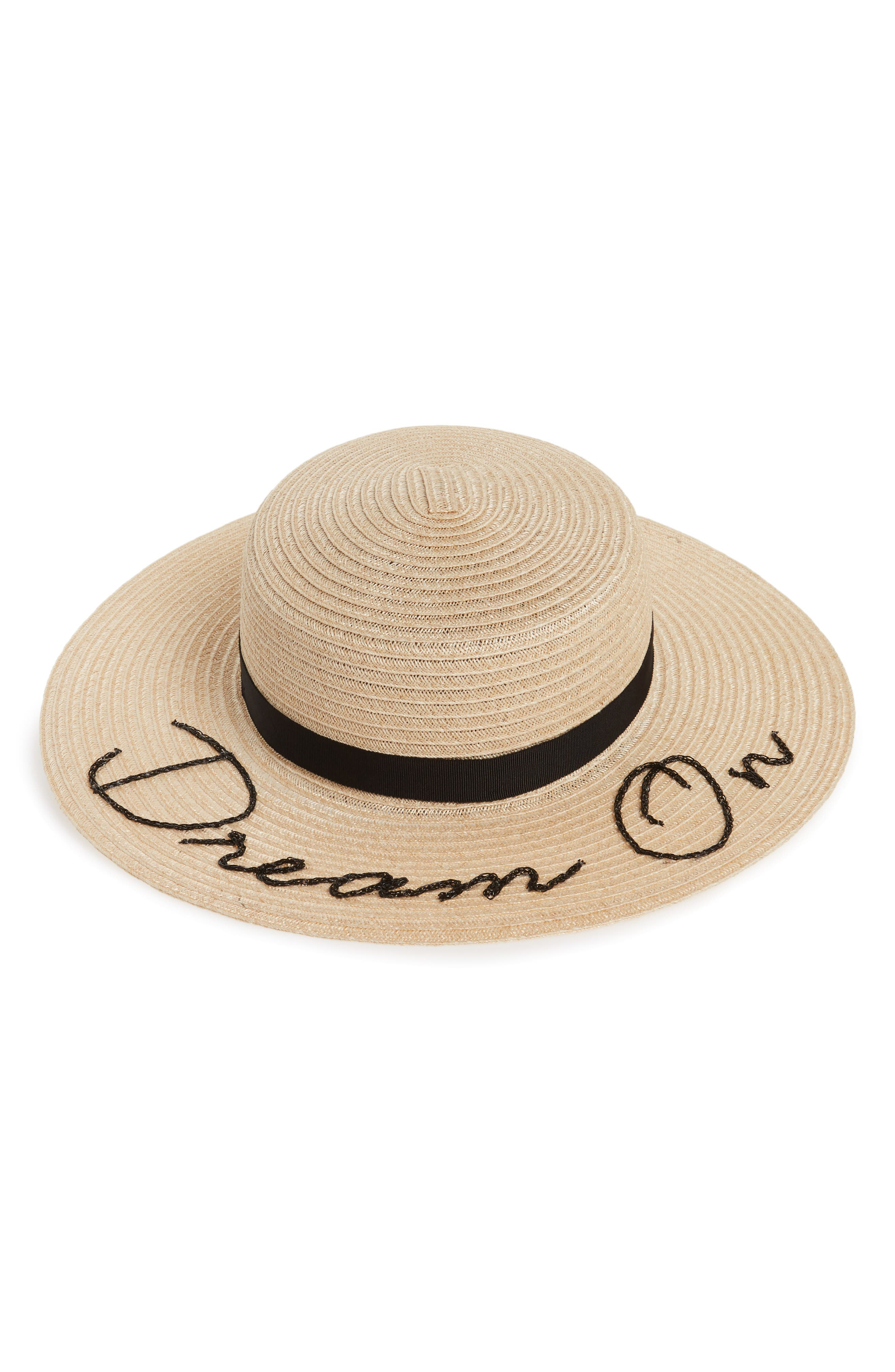 Colette Dream On Boater Hat,                             Main thumbnail 1, color,                             Natural