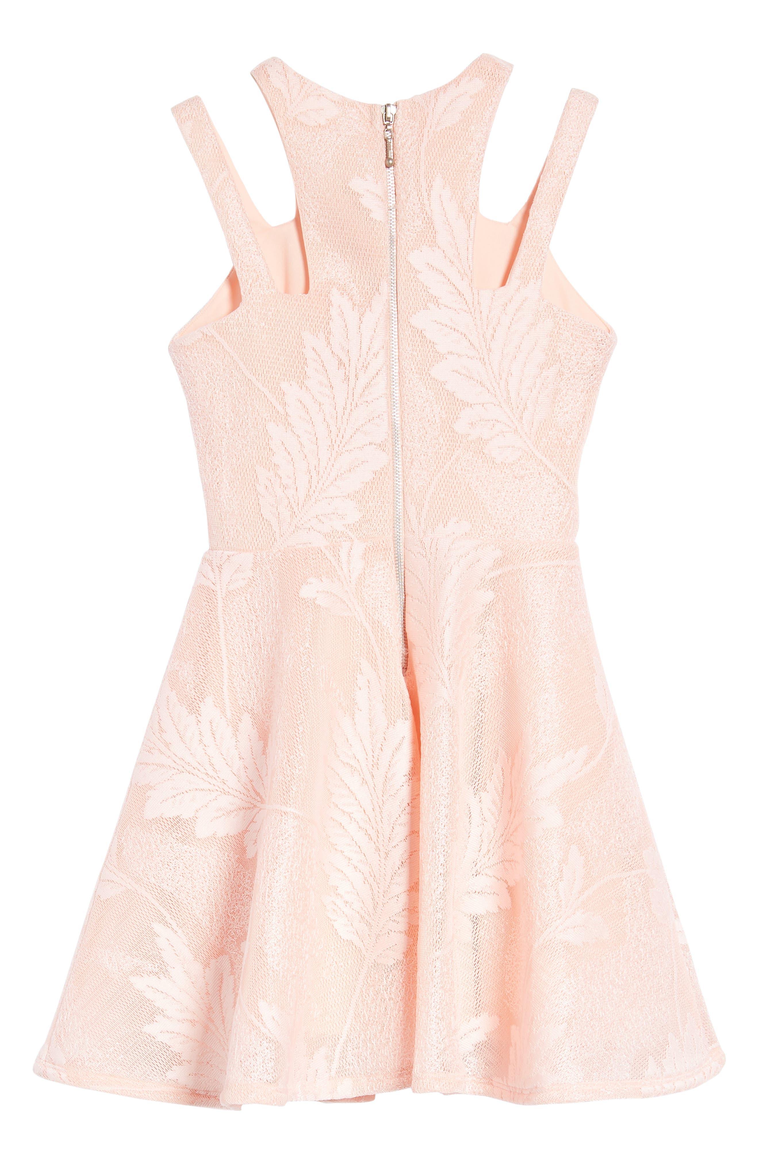 Split Strap Lace Fit & Flare Dress,                             Alternate thumbnail 2, color,                             Peach