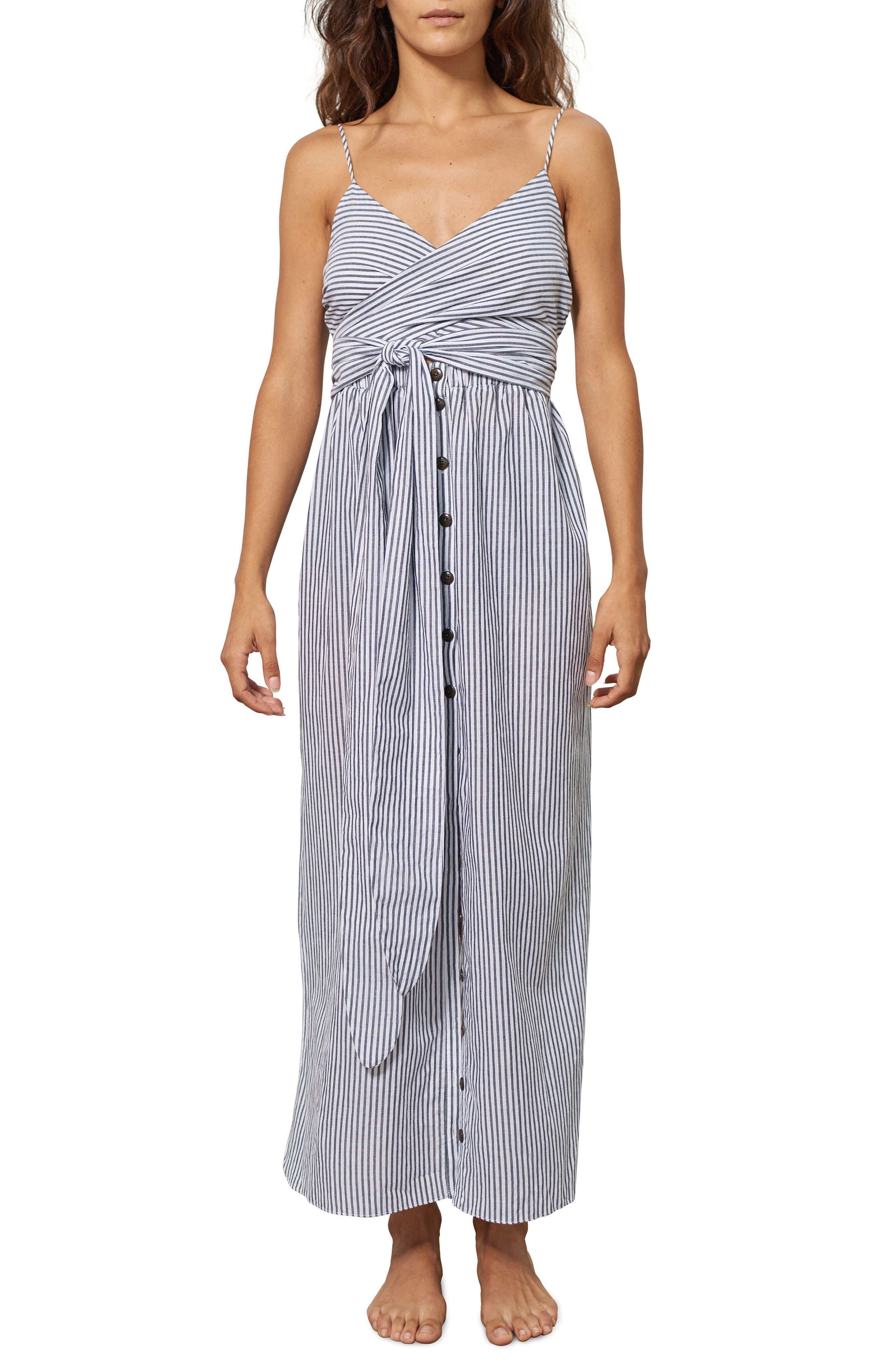 Thora Stripe Cover-Up Dress,                             Main thumbnail 1, color,                             Black/ White