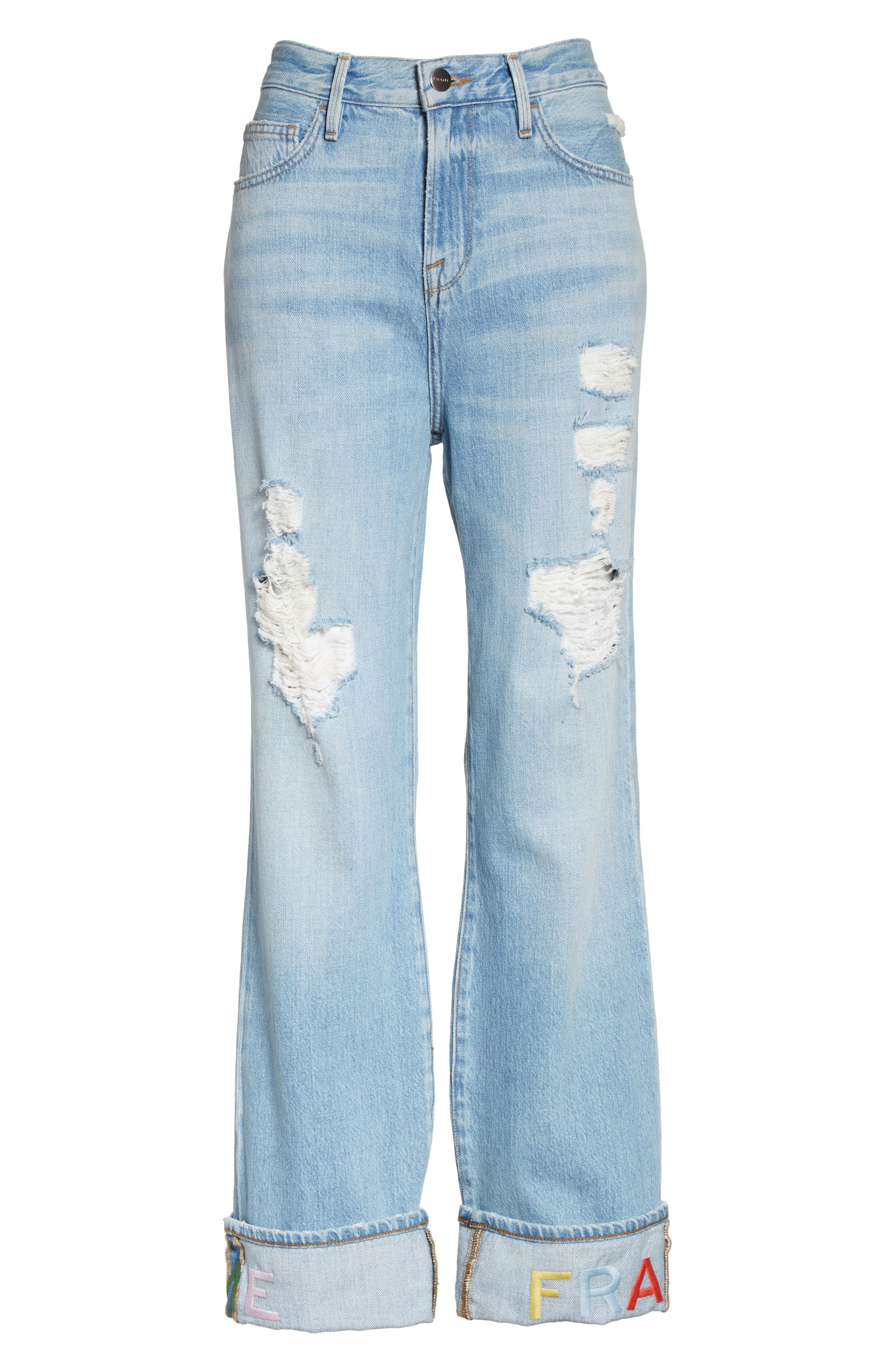 Distressed & Embroidered Straight Leg Jeans,                             Alternate thumbnail 6, color,                             Rydell