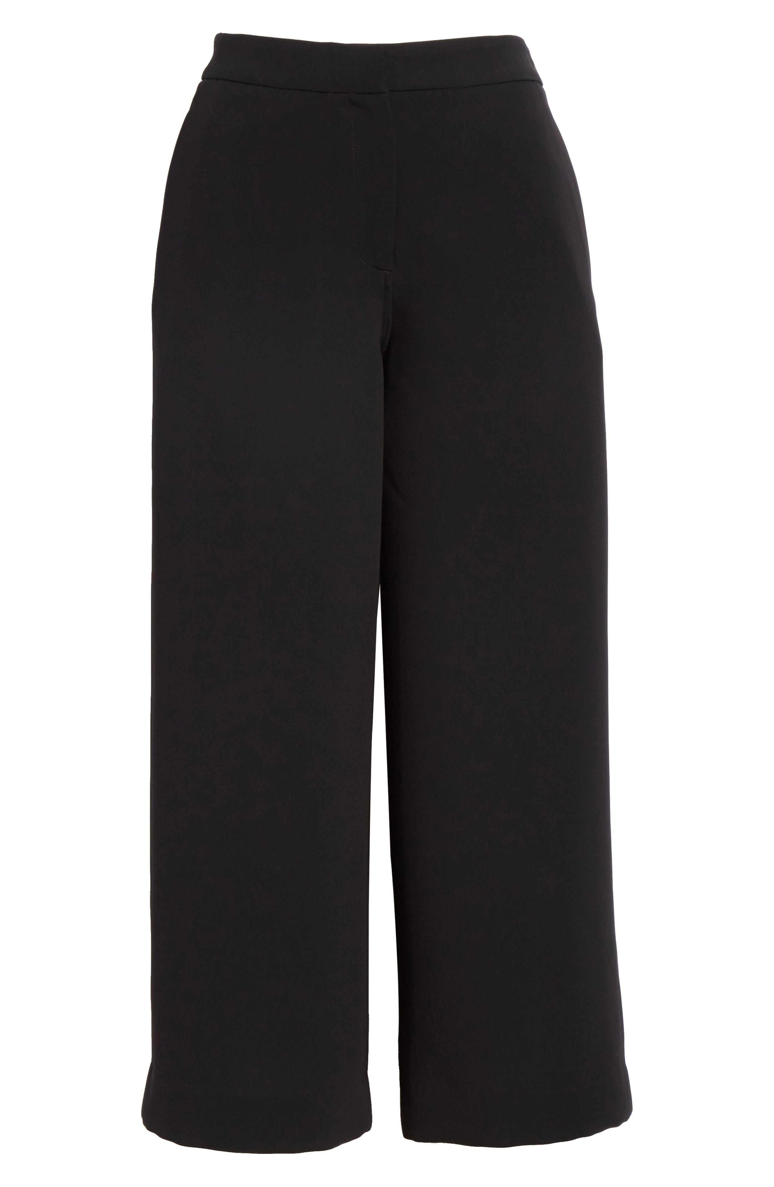 Marci Wide Leg Crop Pants,                             Alternate thumbnail 6, color,                             Black