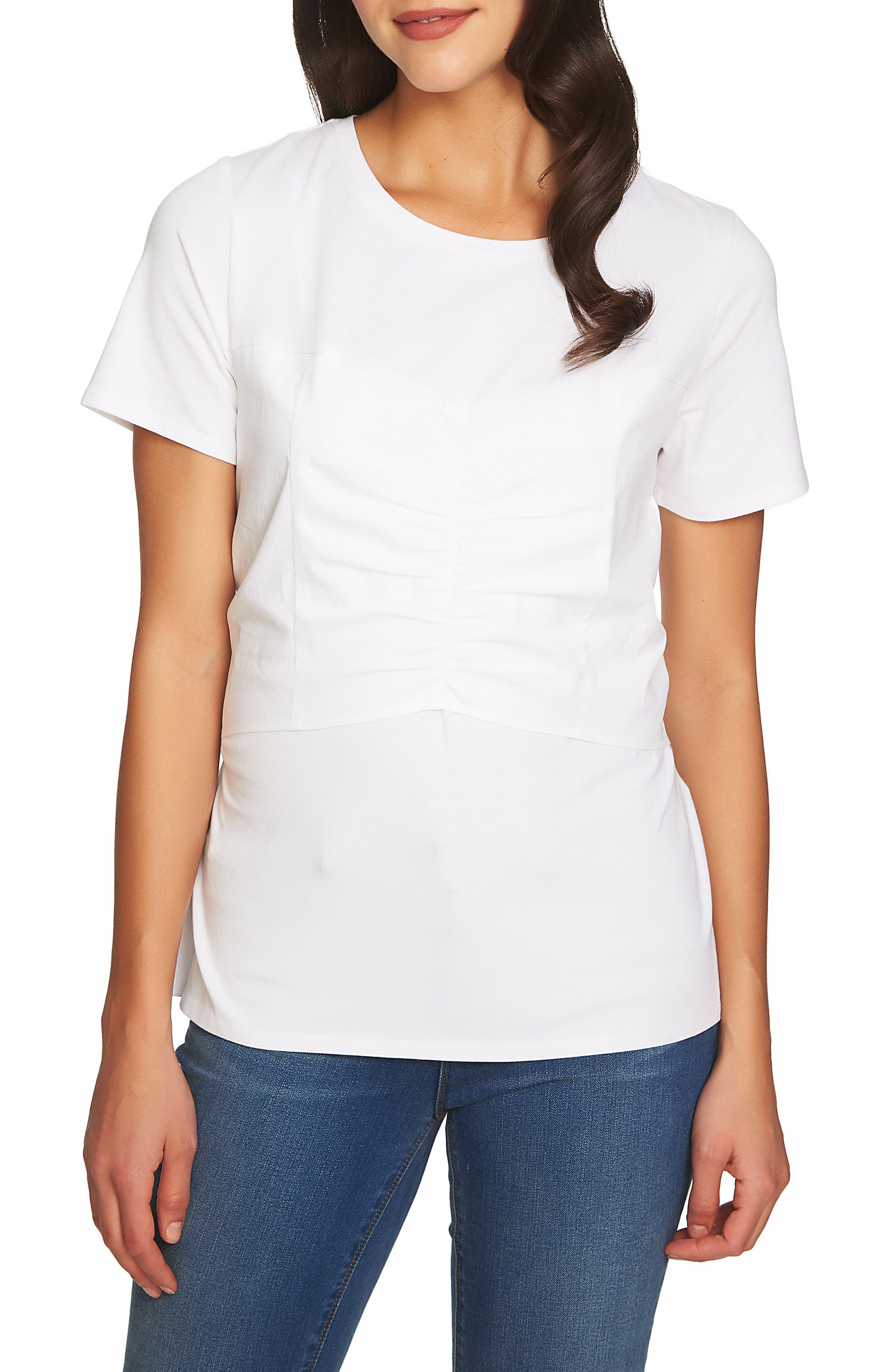 Corset Detail Tee,                         Main,                         color, Ultra White