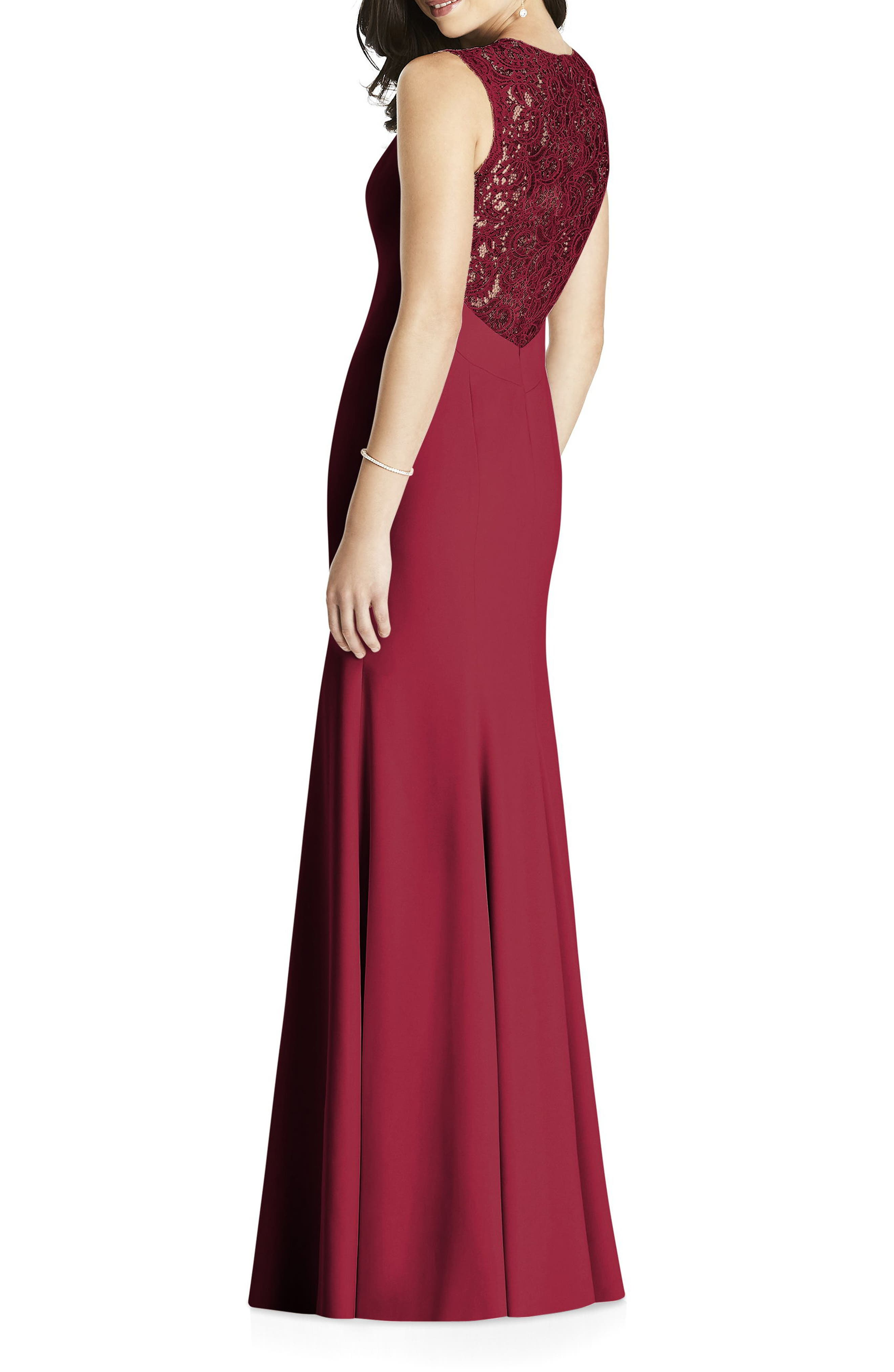 Lace Back Crepe Gown,                             Alternate thumbnail 2, color,                             Burgundy