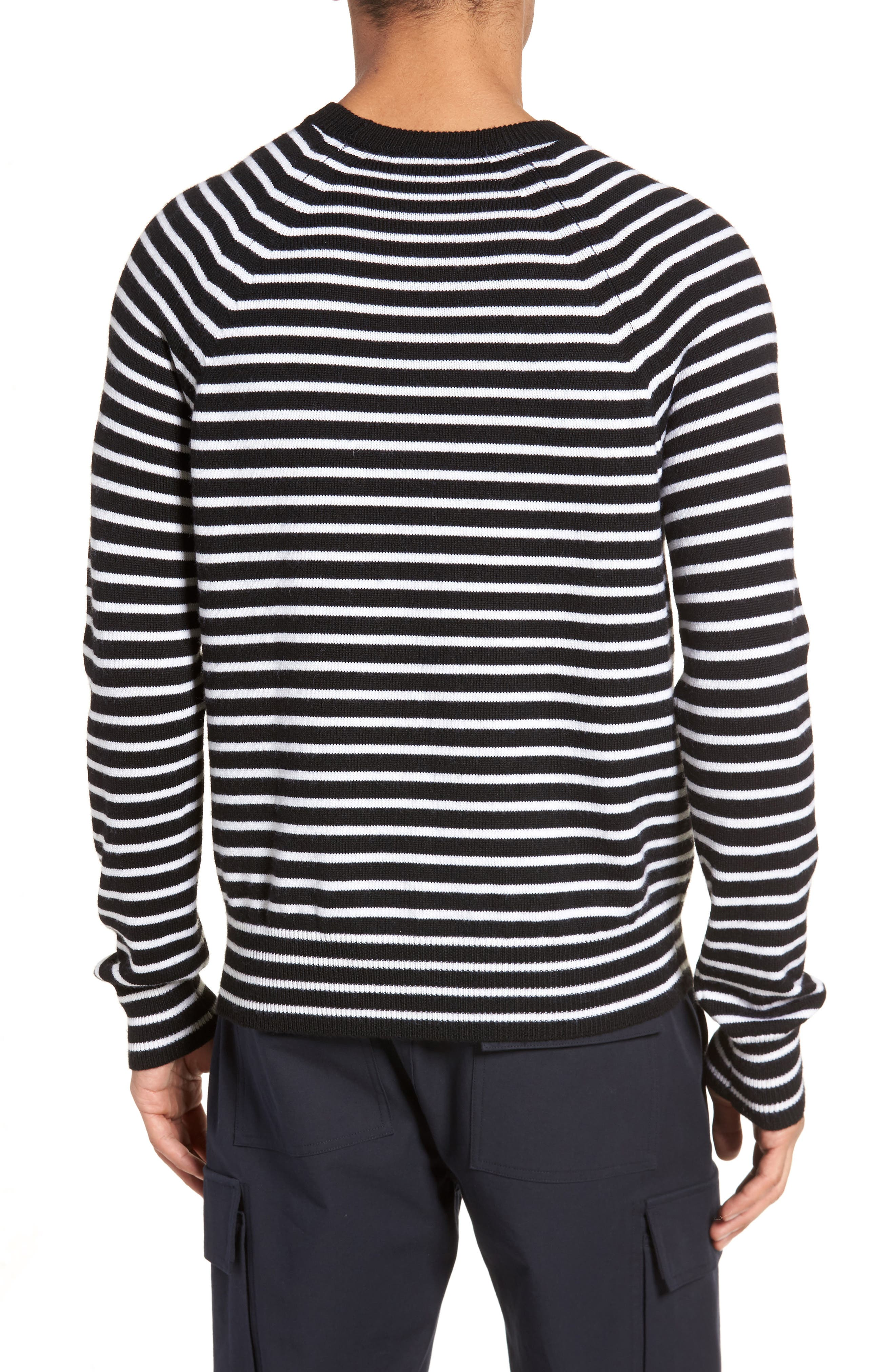 Regular Fit Striped Wool Sweater,                             Alternate thumbnail 2, color,                             Black/ Stormy White