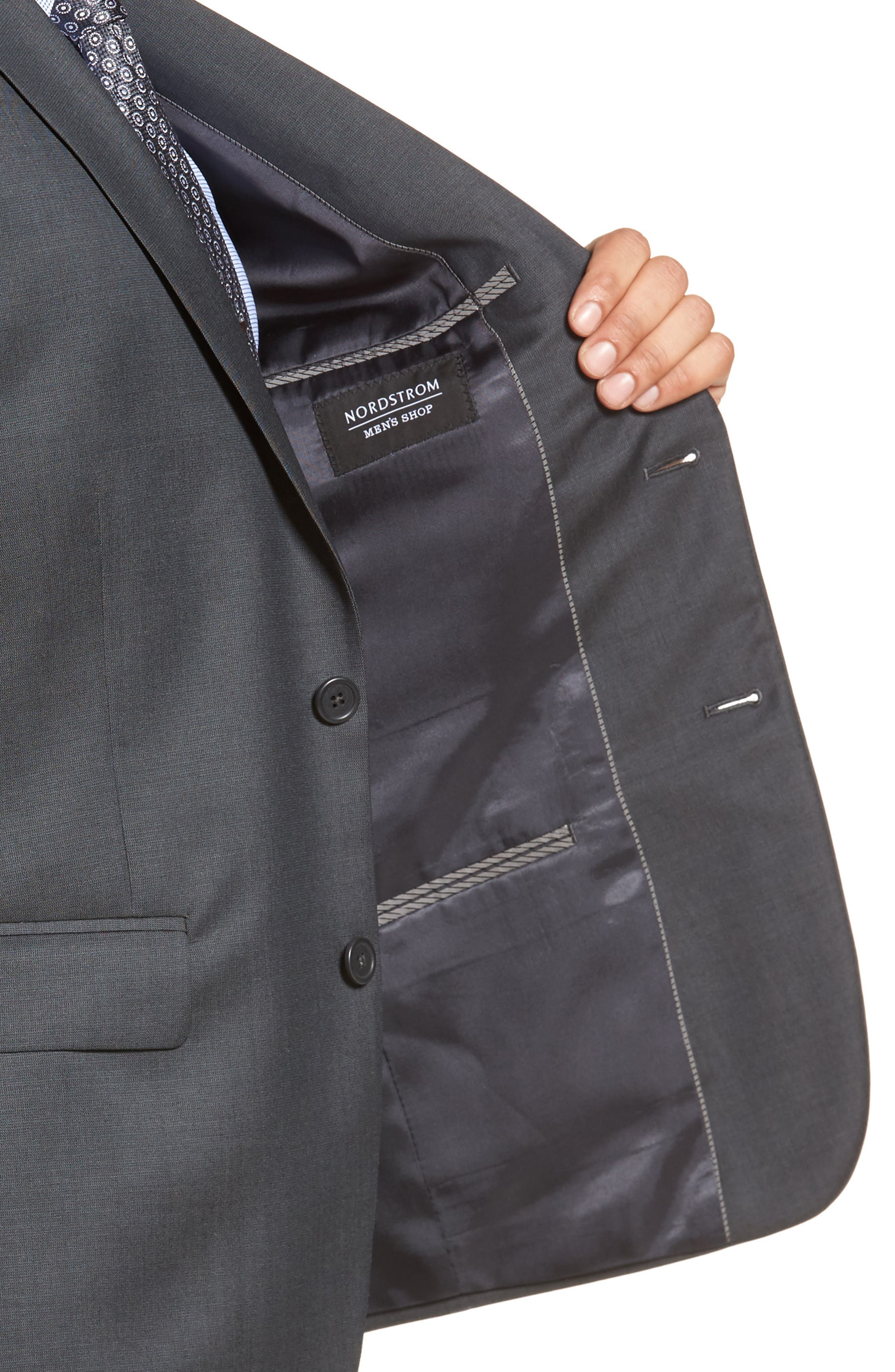 Extra Trim Fit Solid Wool Suit,                             Alternate thumbnail 4, color,                             Charcoal