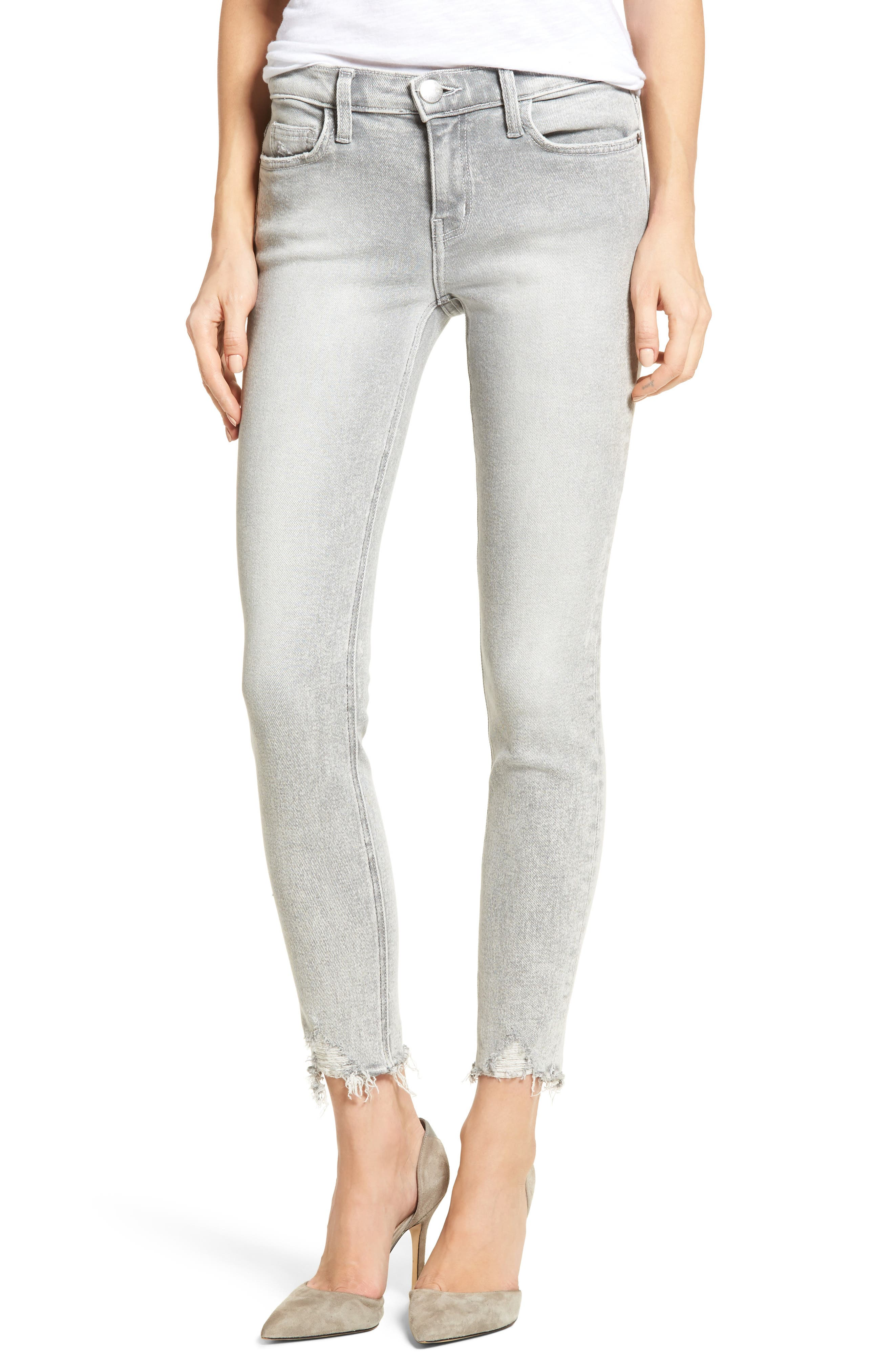 The Stiletto High Waist Ankle Skinny Jeans,                         Main,                         color, Astor W/ Punk Hem