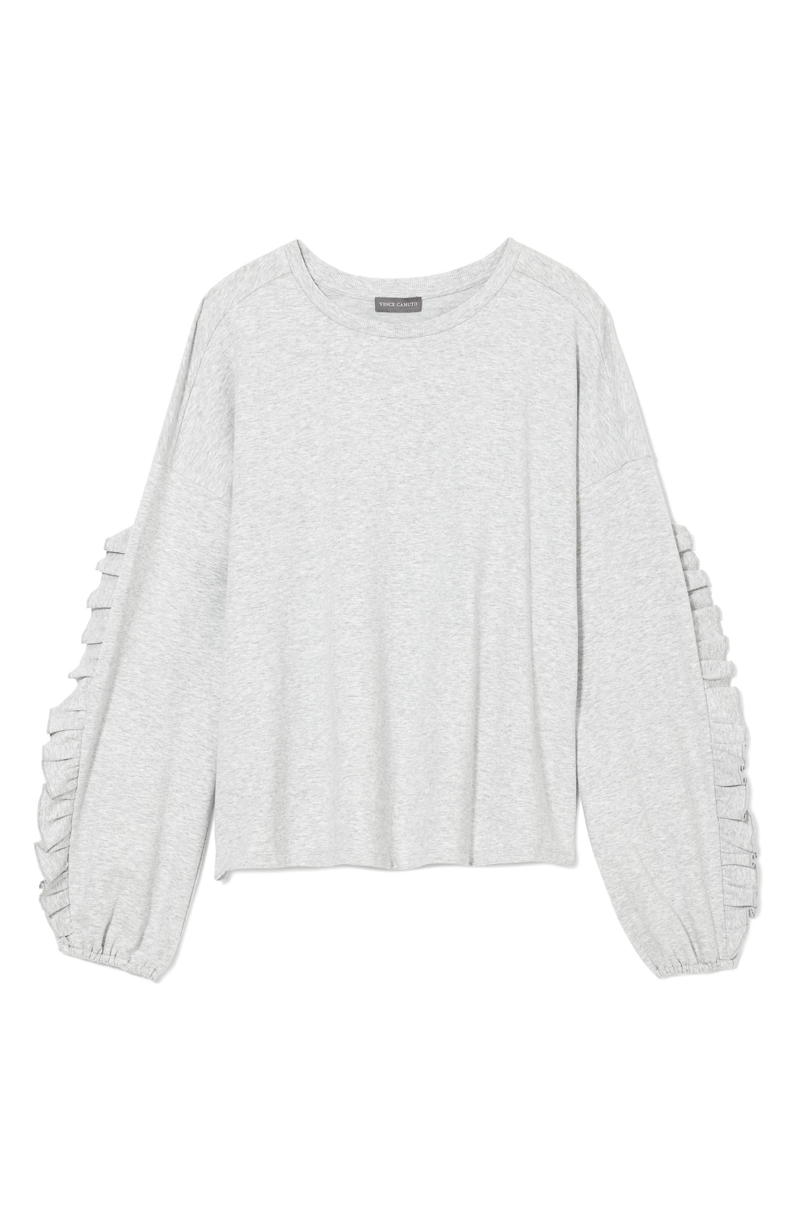 Ruffle Sleeve Sweatshirt,                             Alternate thumbnail 5, color,                             Grey Heather