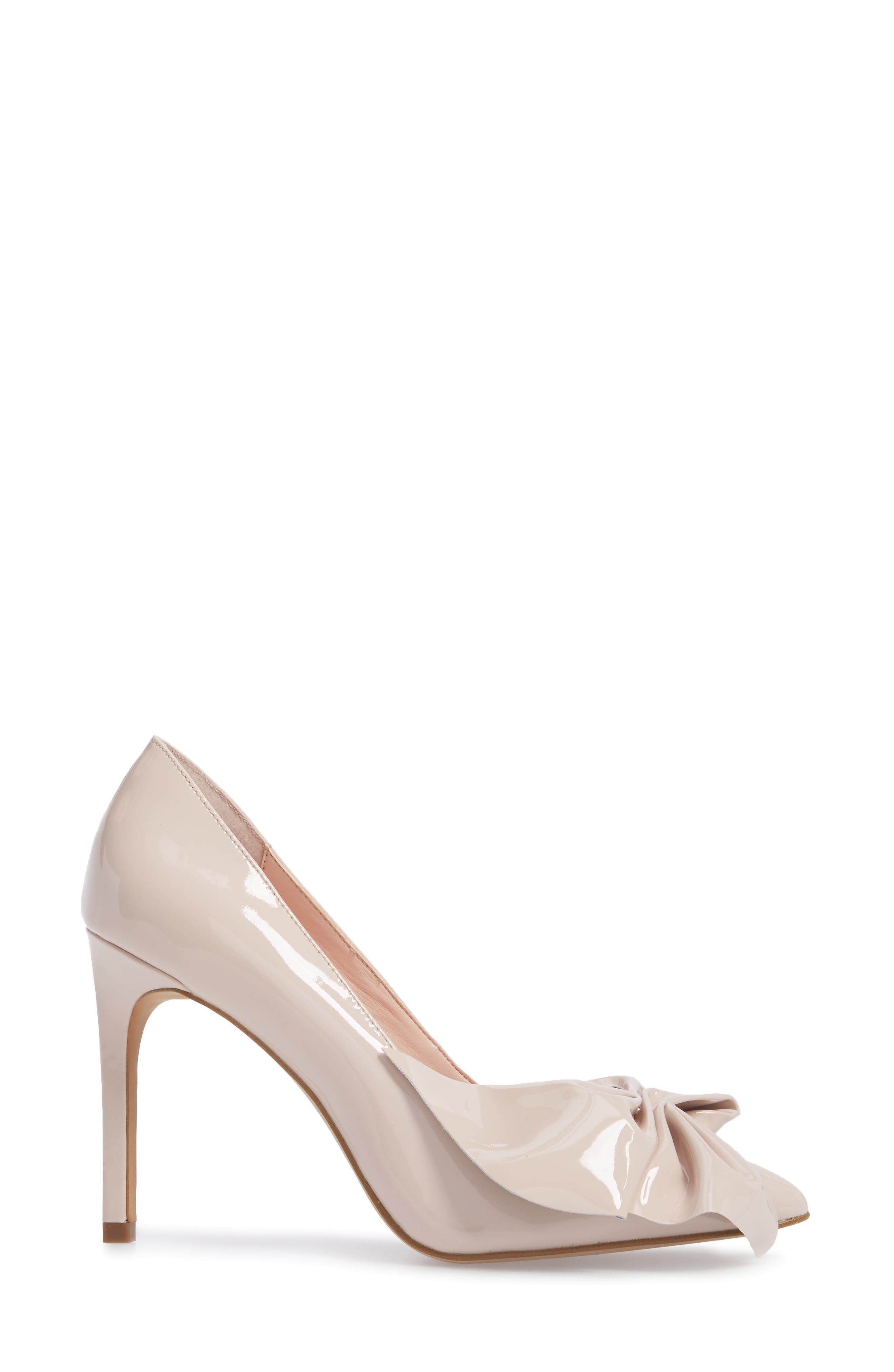Bow Pointy Toe Pump,                             Alternate thumbnail 3, color,                             Avec Pink Leather