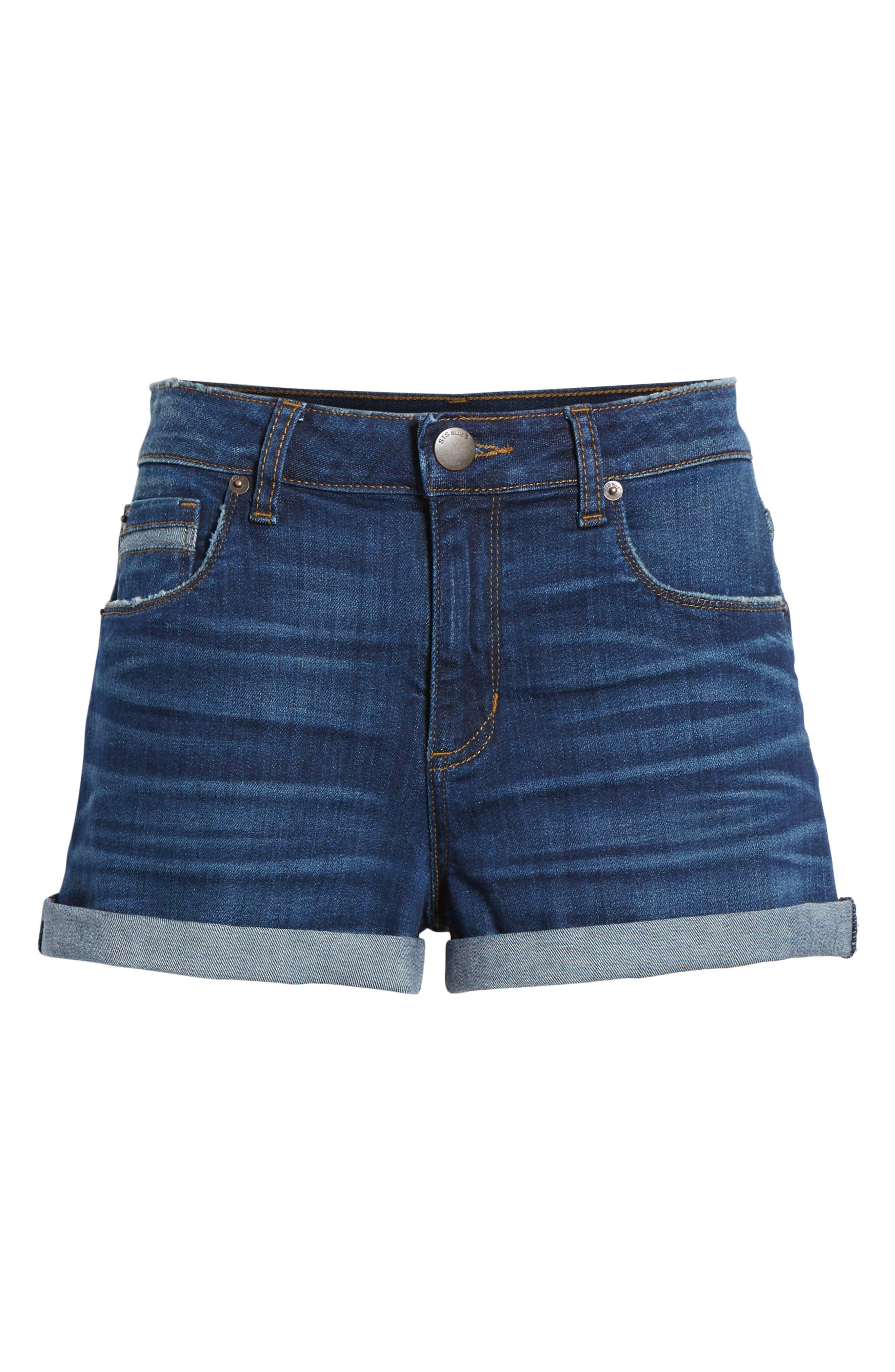 Rose Bowl Cuffed Denim Shorts,                             Alternate thumbnail 7, color,                             Sageland