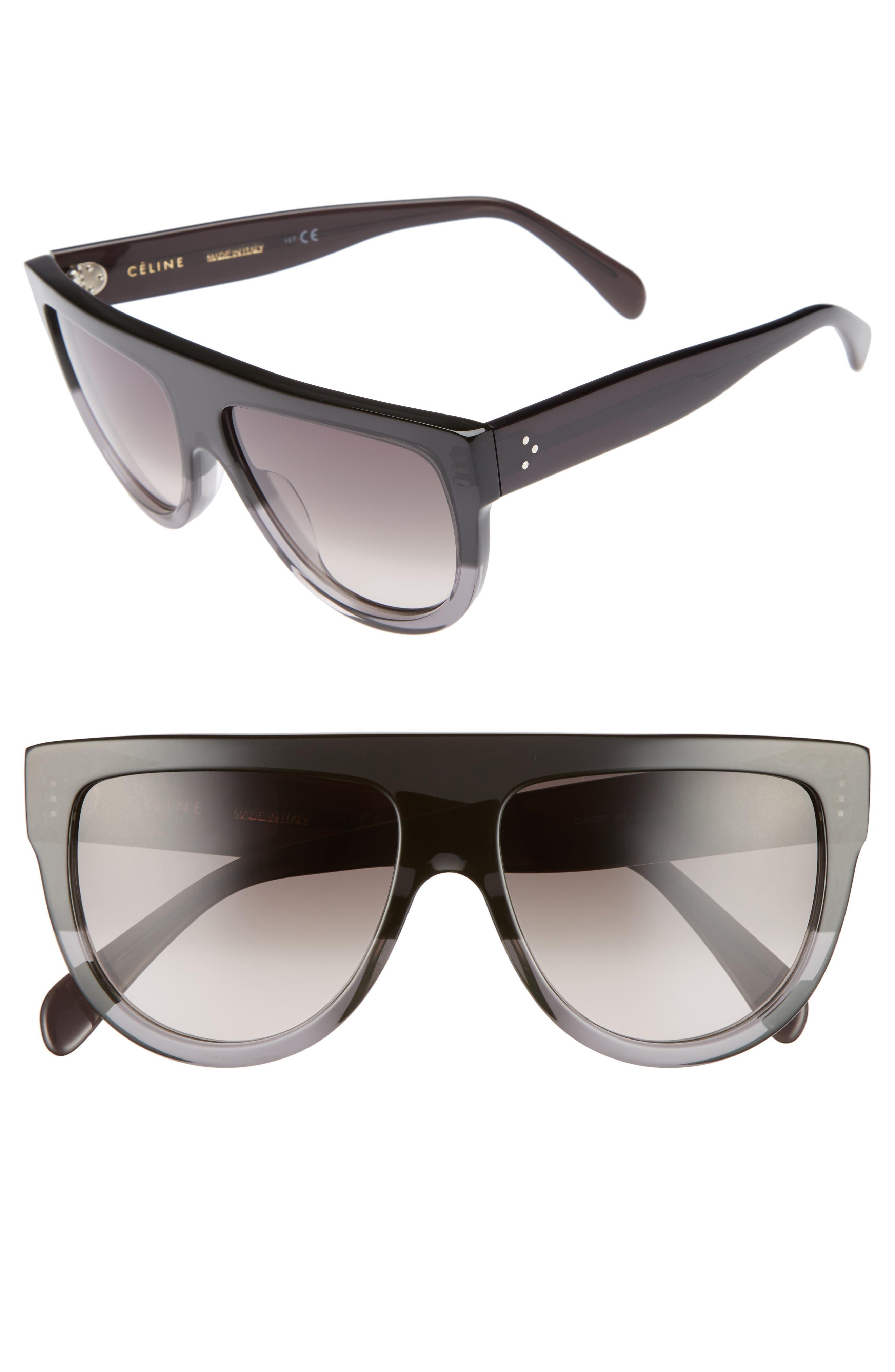 Flat Top Sunglasses,                             Main thumbnail 1, color,                             Dark Grey/ Brown