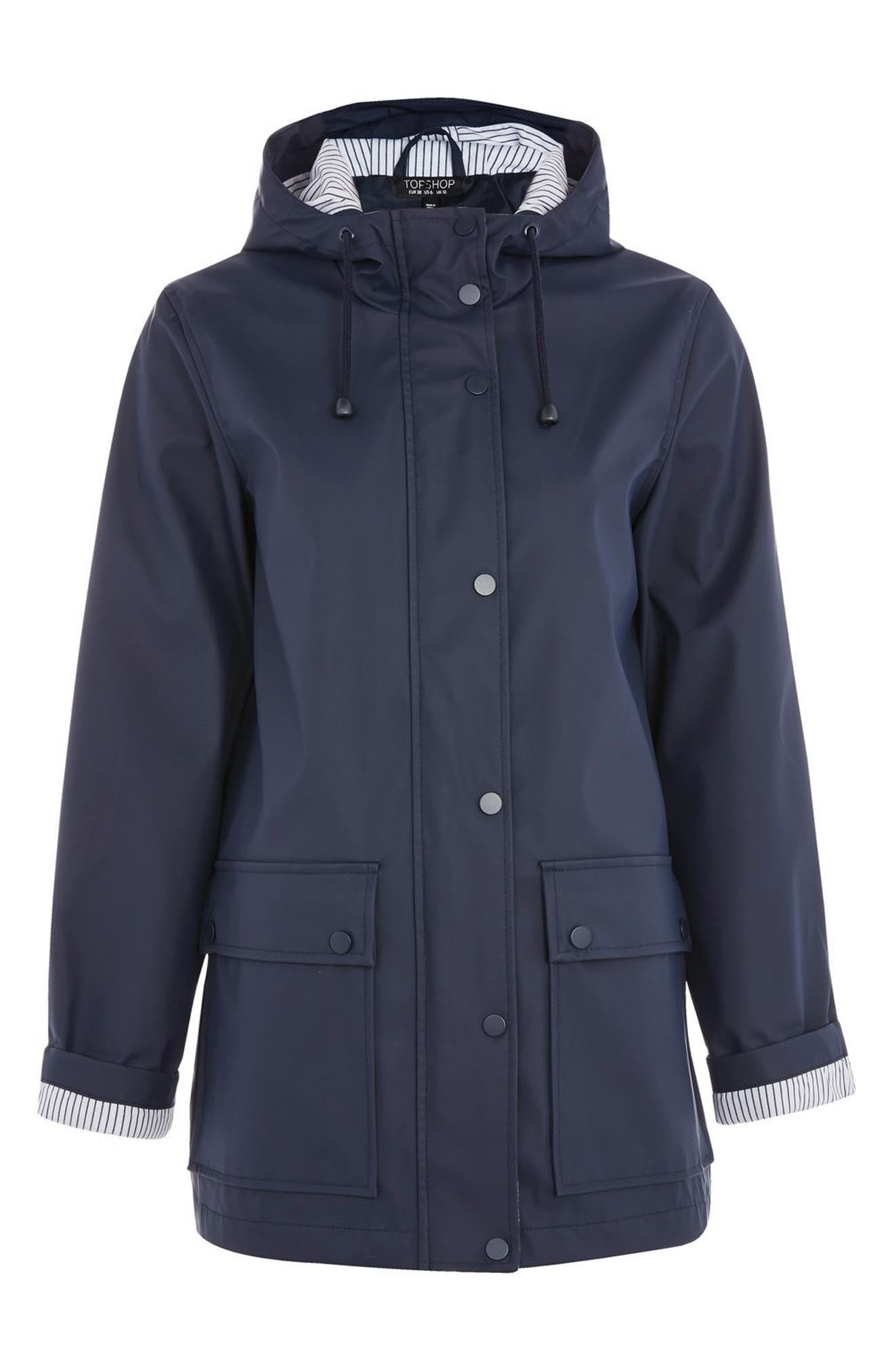 Maisie Rain Jacket,                             Alternate thumbnail 4, color,                             Navy Blue