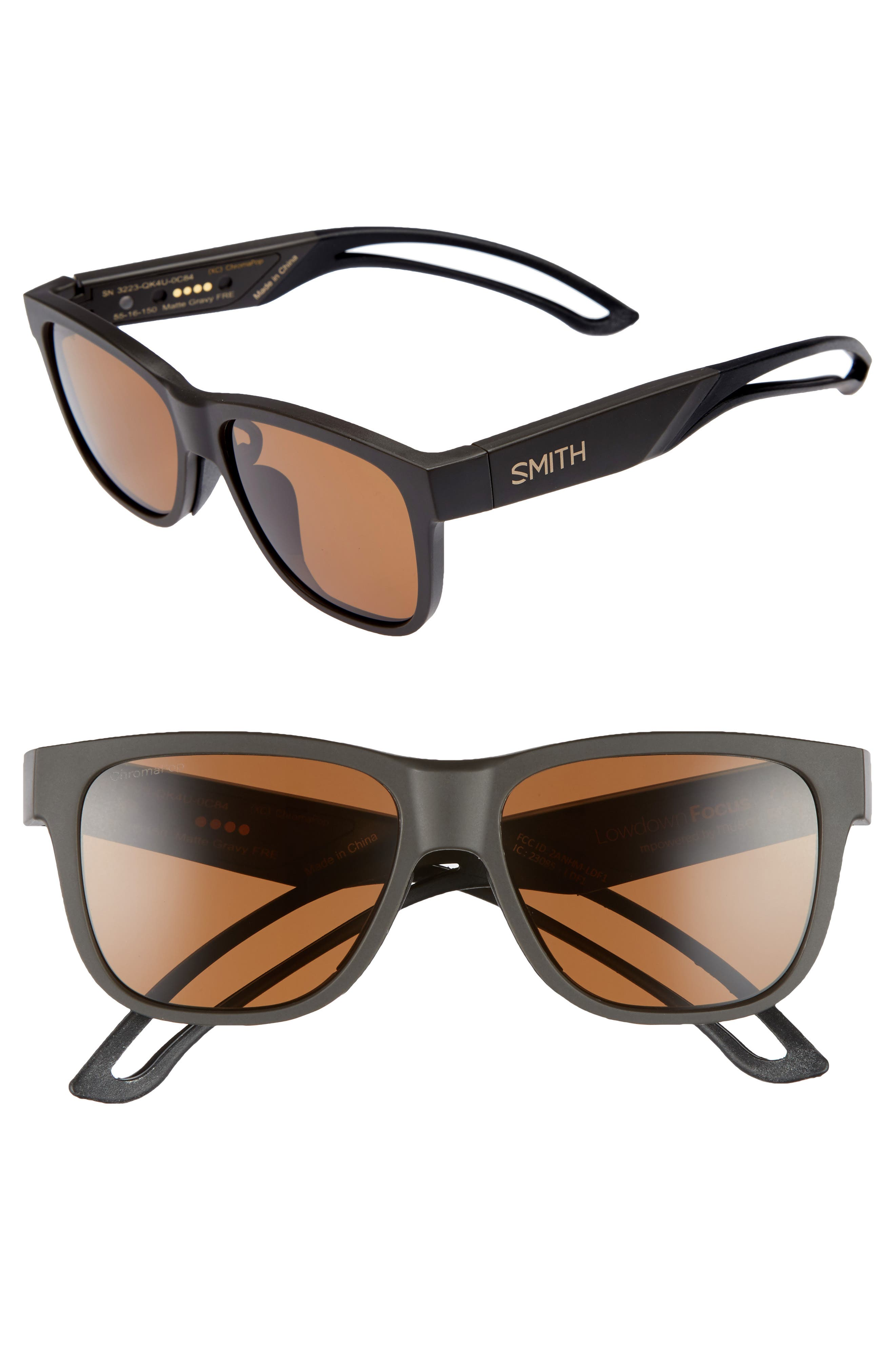 Lowdown Focus 56mm ChromaPop<sup>™</sup> Sunglasses,                         Main,                         color, Matte Gravy/ Brown