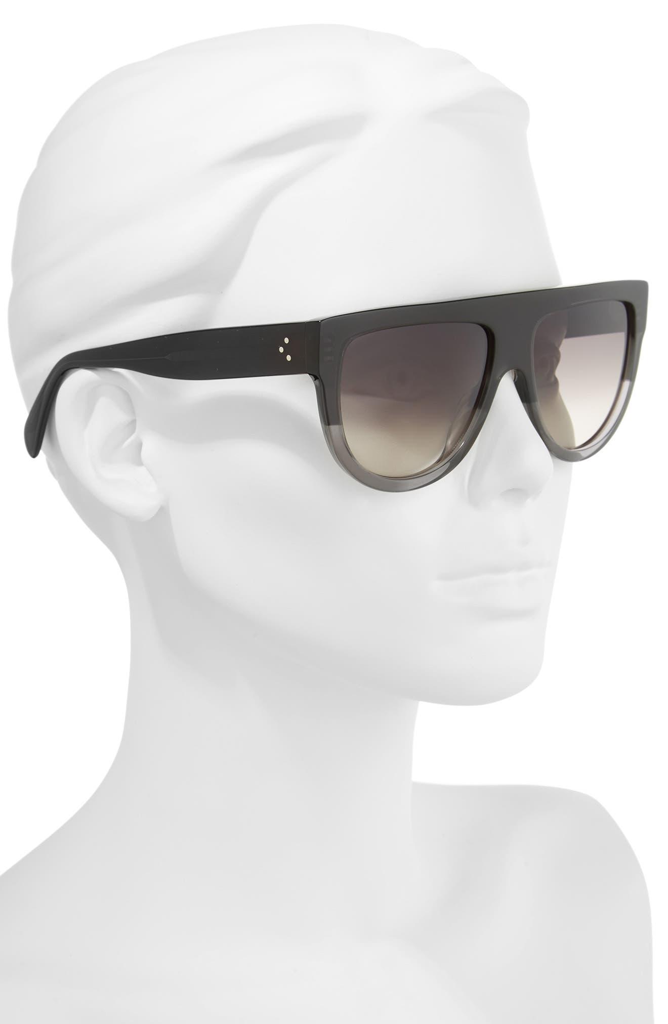 Flat Top Sunglasses,                             Alternate thumbnail 2, color,                             Dark Grey/ Brown