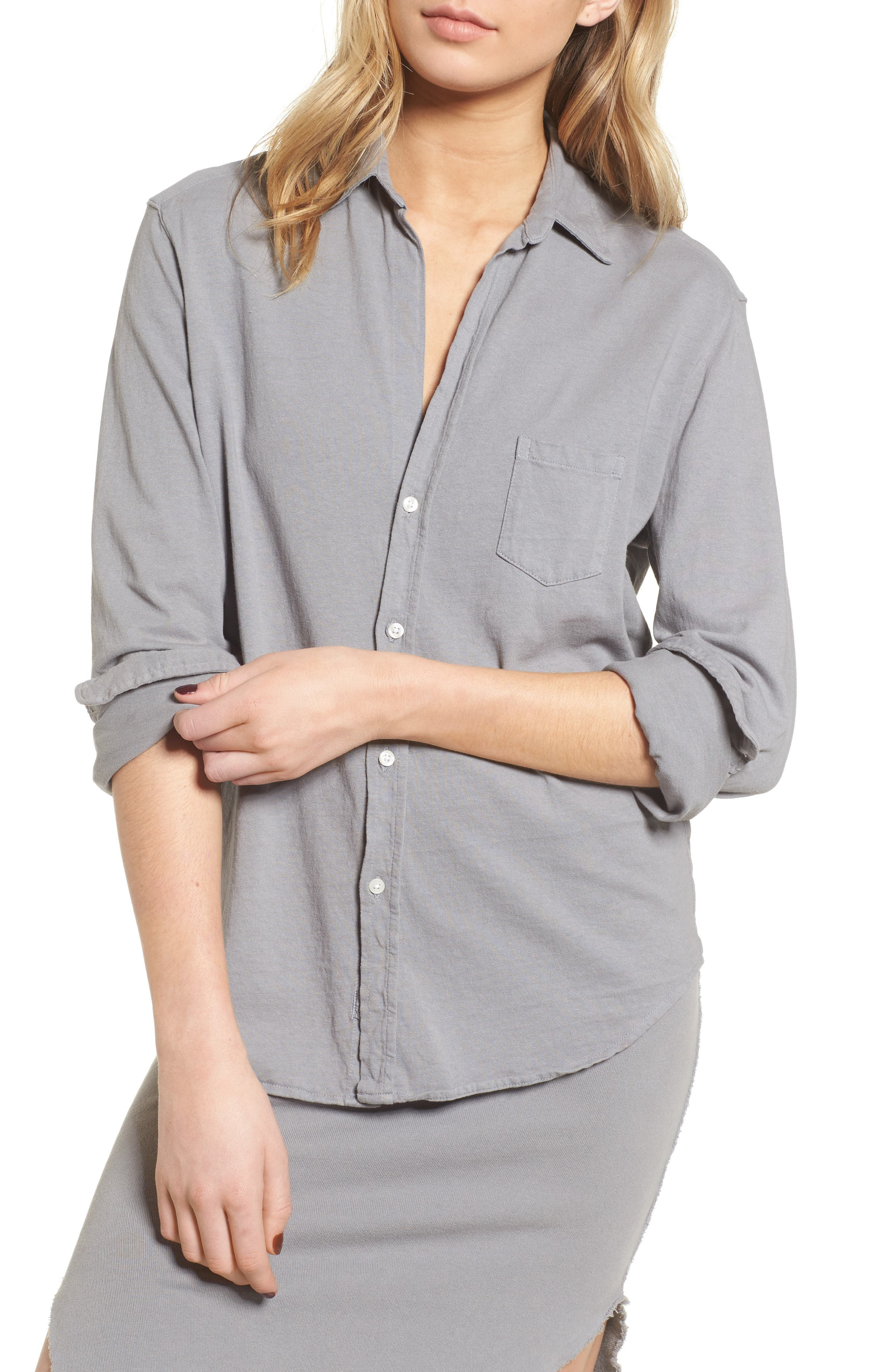 Tee Lab Knit Button Down Shirt,                             Main thumbnail 1, color,                             Shadow