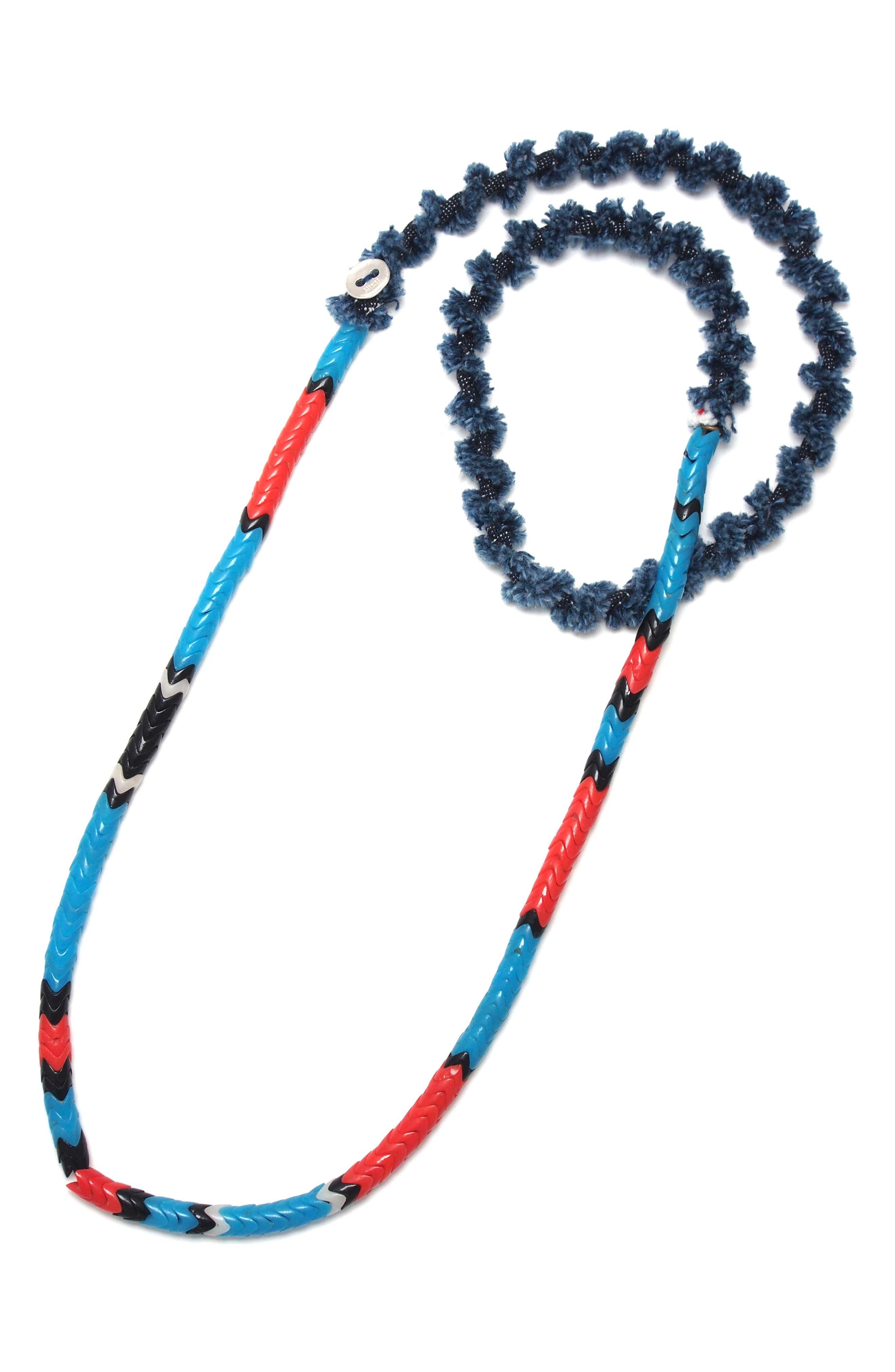 Denim & Glass Bead Necklace,                         Main,                         color, Snake Beads/ Denim
