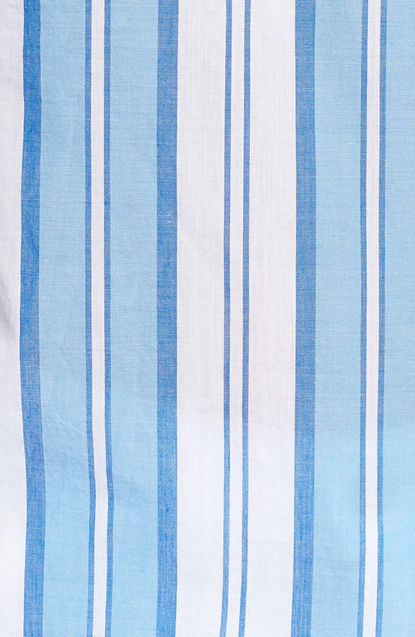 Ocean Stripe Cap Sleeve Popover Top,                             Alternate thumbnail 5, color,                             Blue Jay