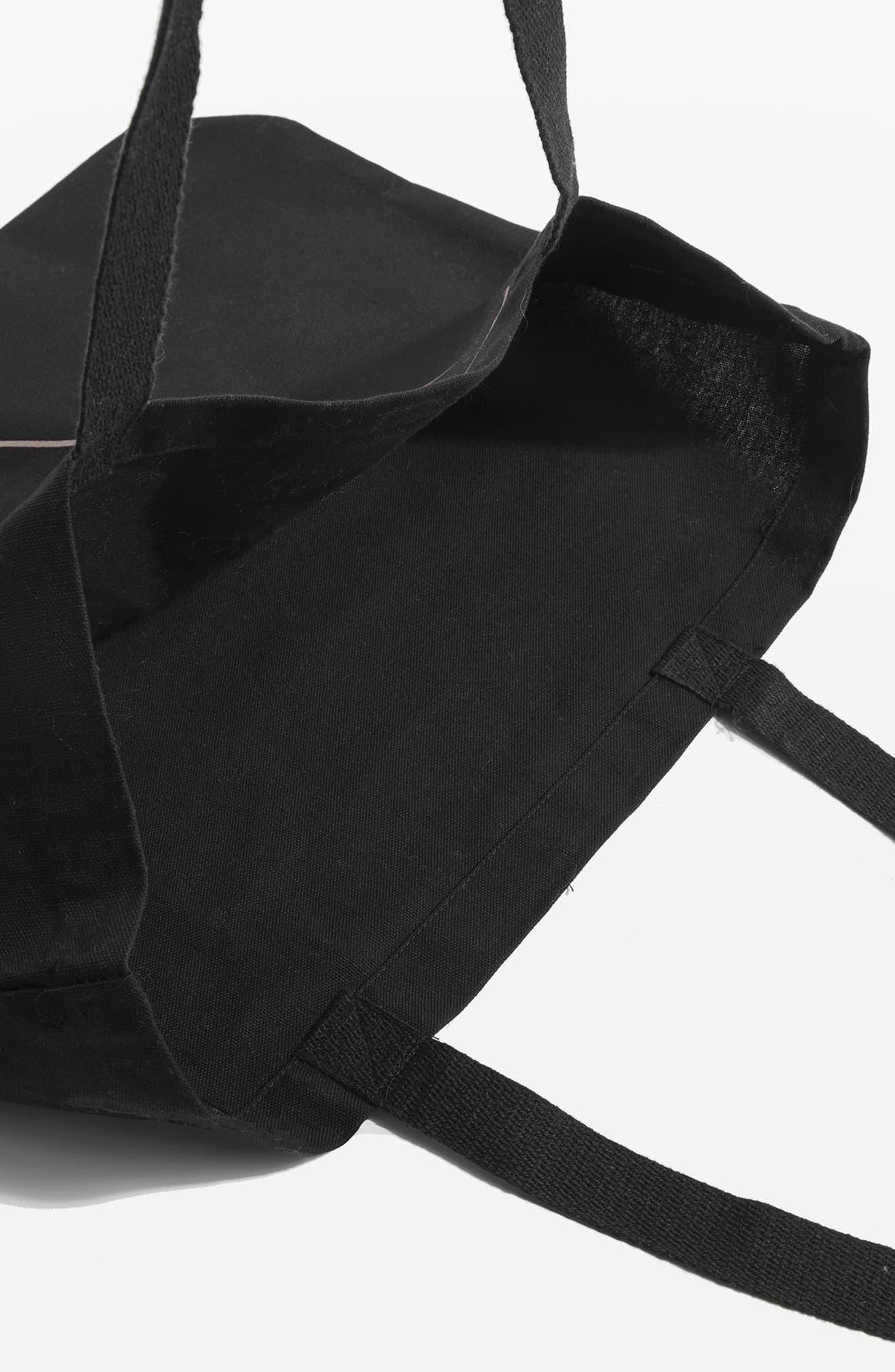 Love Yourself Canvas Tote Bag,                             Alternate thumbnail 3, color,                             Black Multi