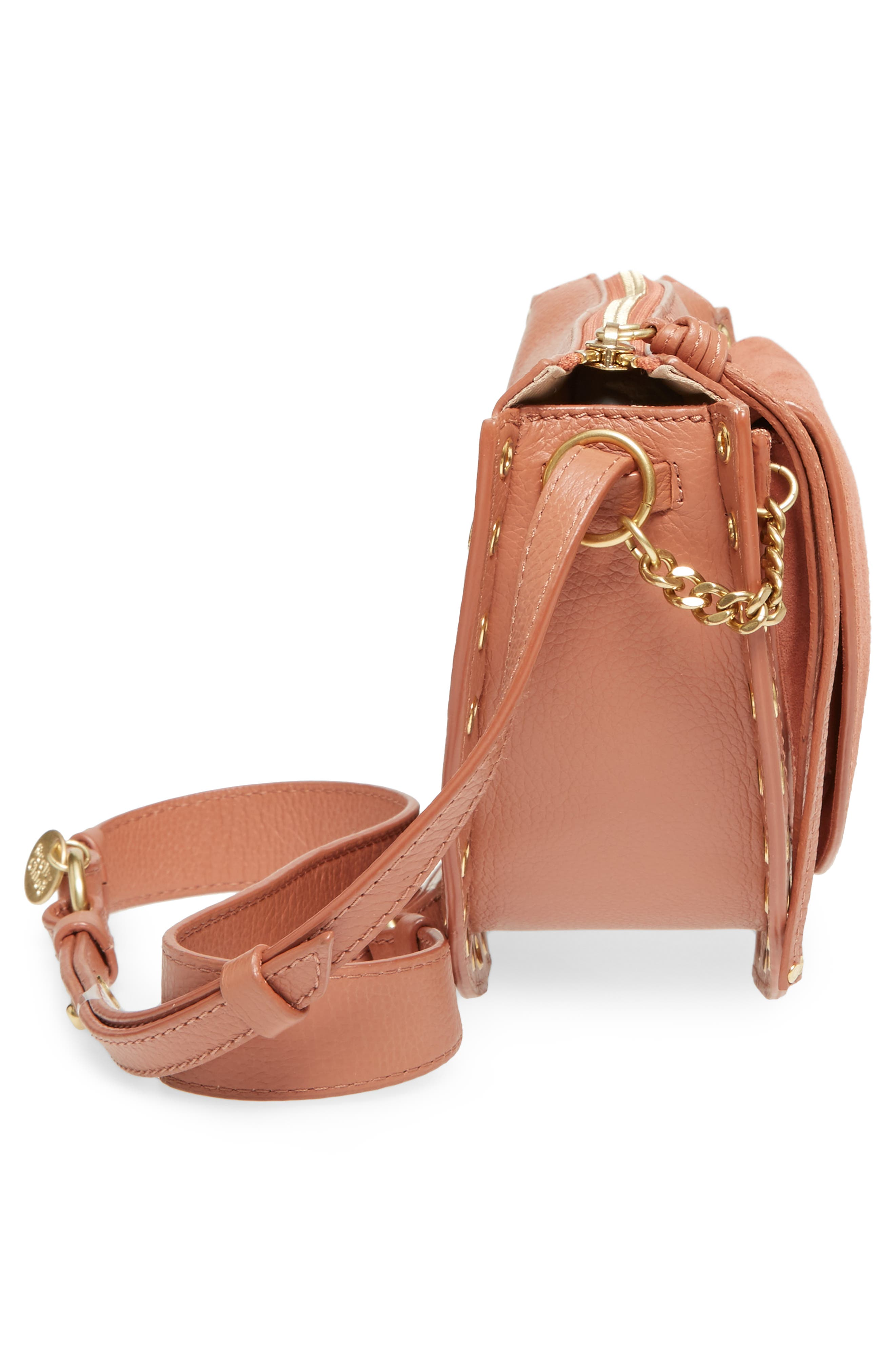 Kriss Leather & Suede Grommet Shoulder Bag,                             Alternate thumbnail 5, color,                             Cheek