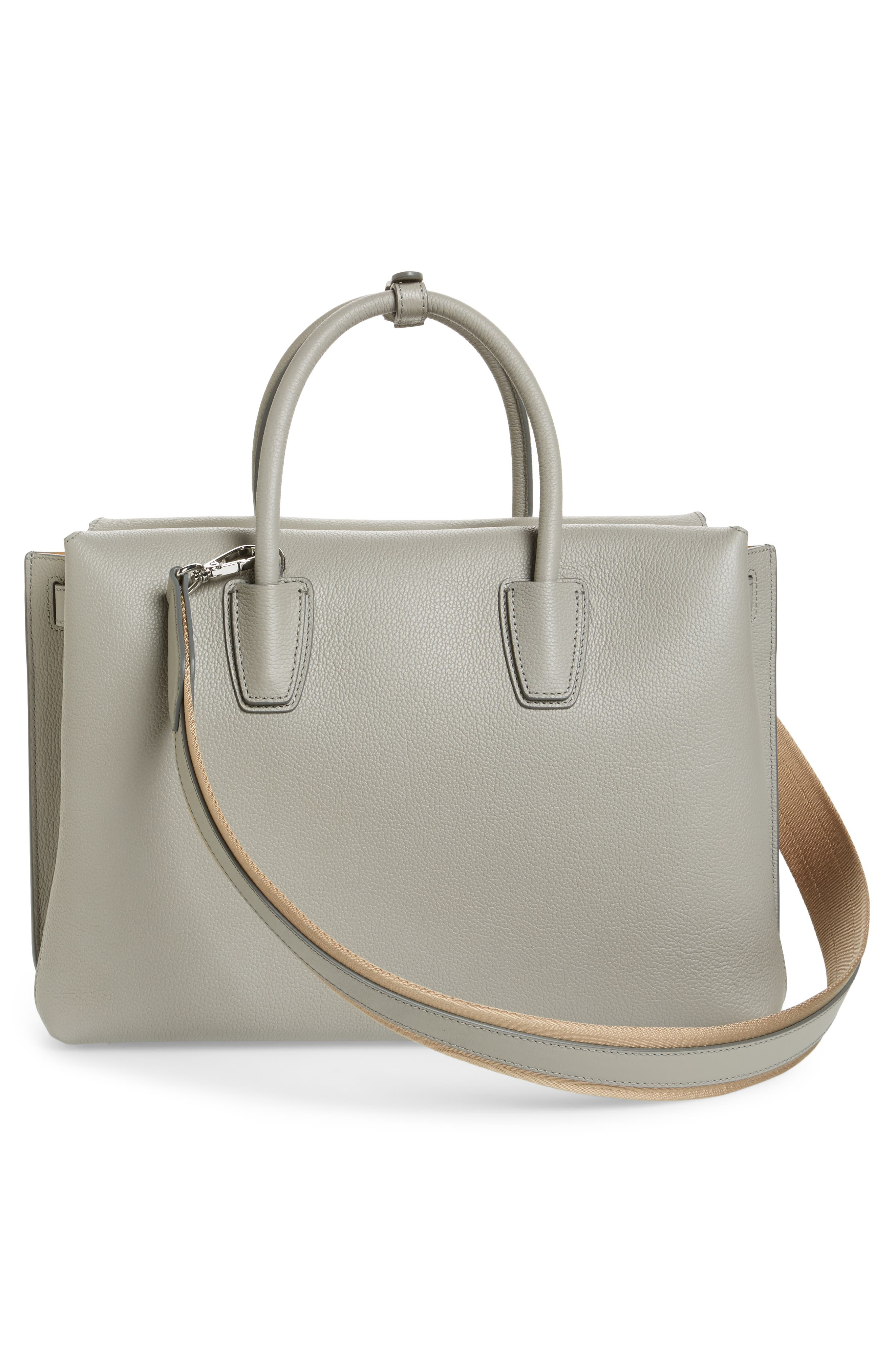 Large Milla Leather Tote,                             Alternate thumbnail 4, color,                             Arch Grey