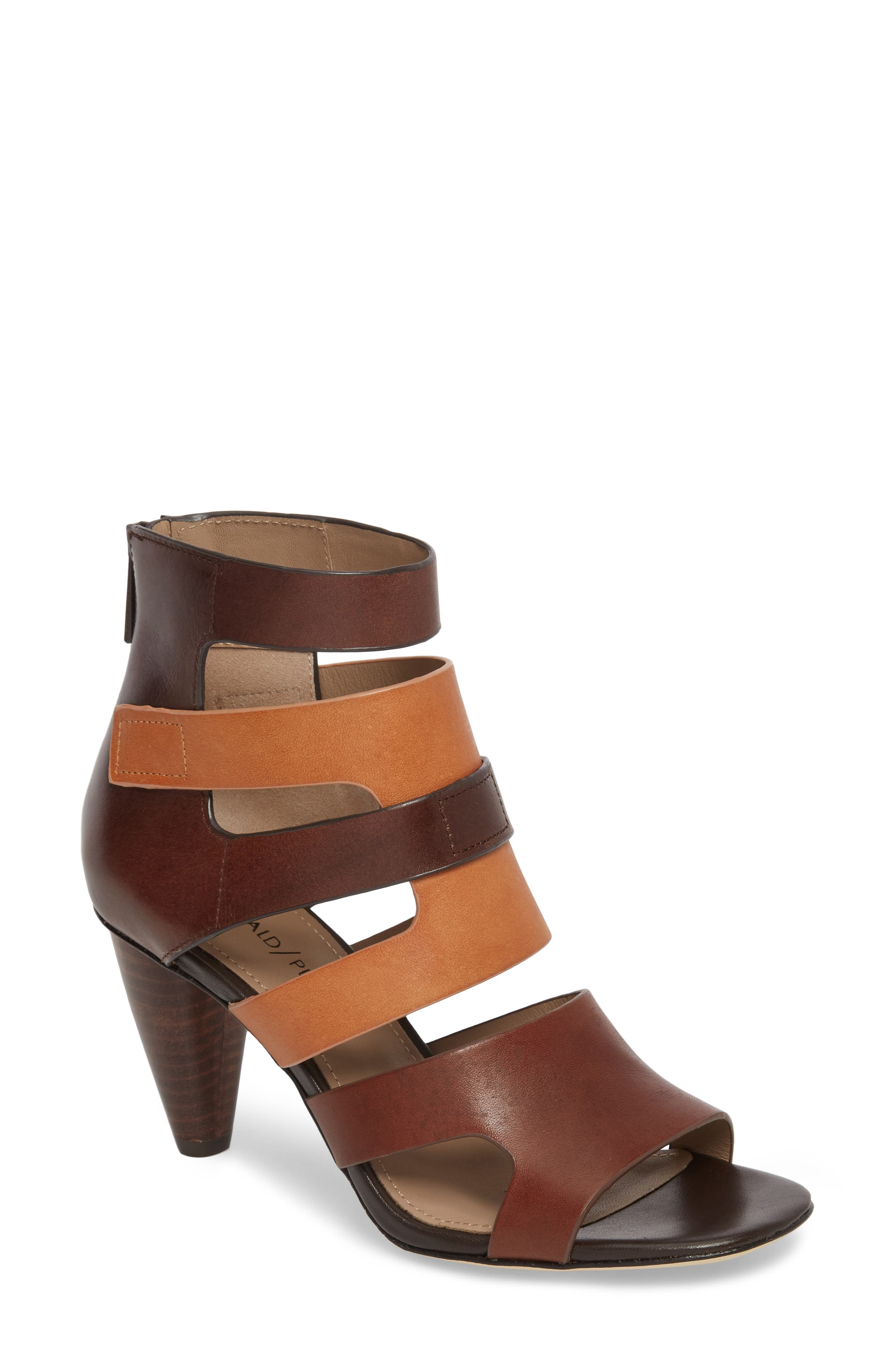 Paula Strappy Pump,                         Main,                         color, Teak Leather