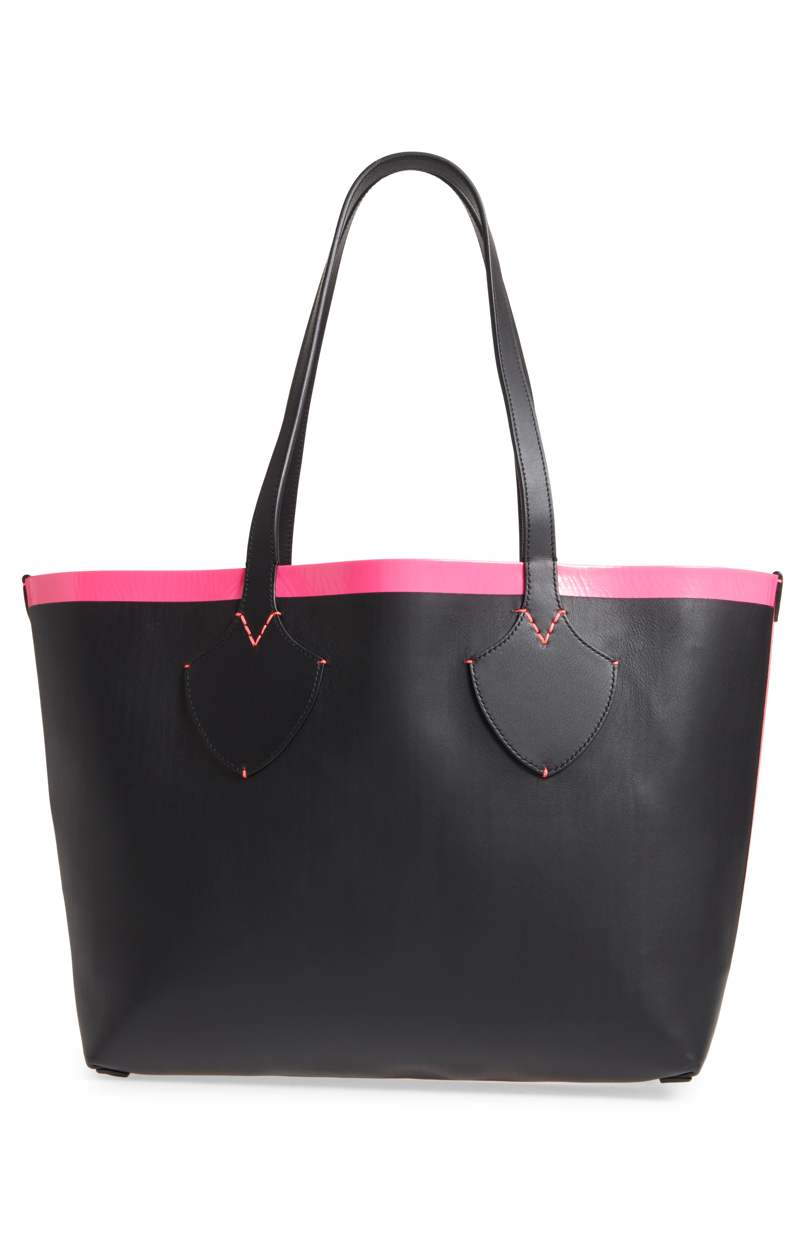 Medium Reversible Check Canvas & Leather Tote,                             Alternate thumbnail 3, color,                             Black/ Neon Pink