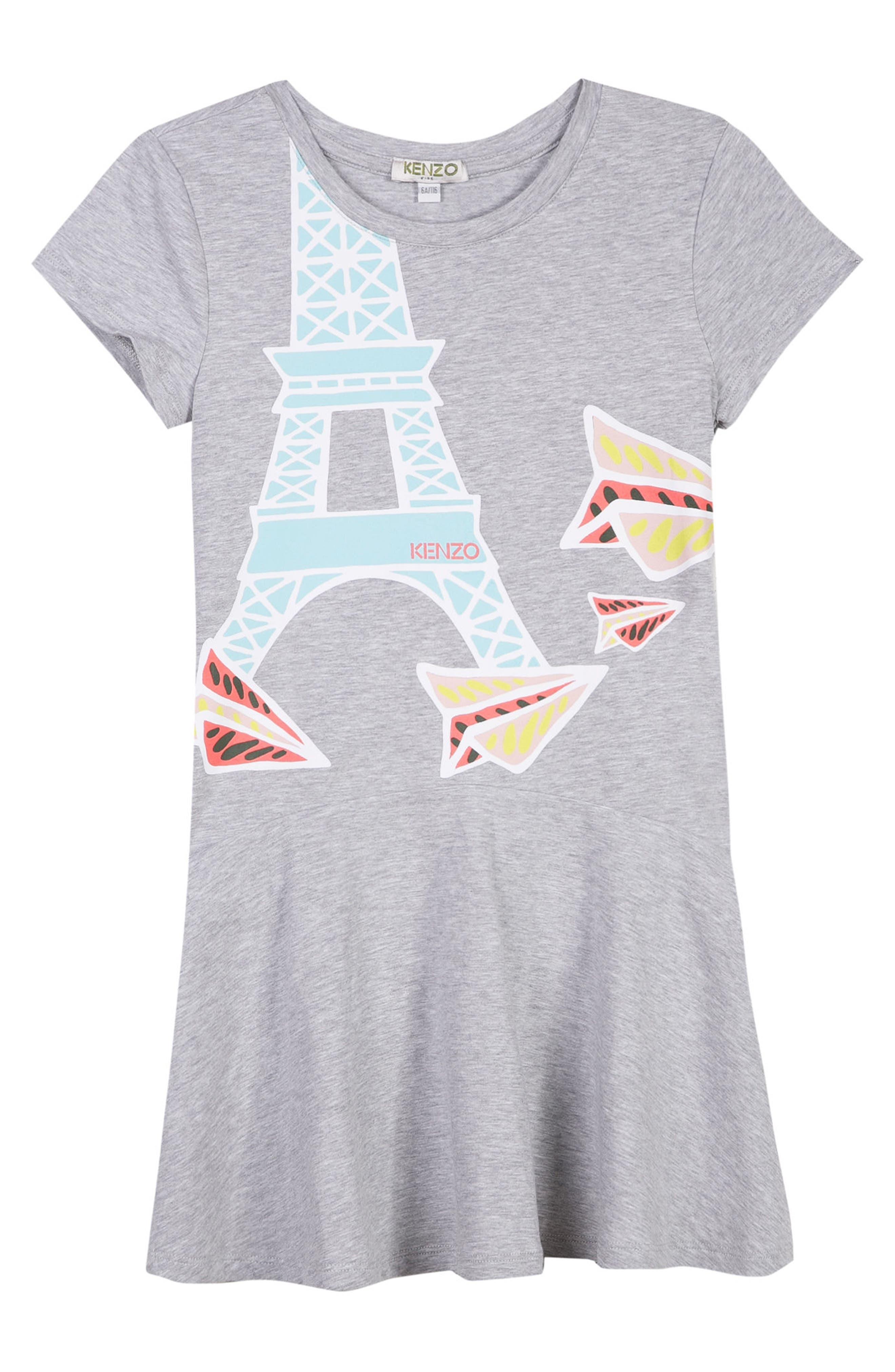 Eiffel Tower Skater Dress,                         Main,                         color, Grey