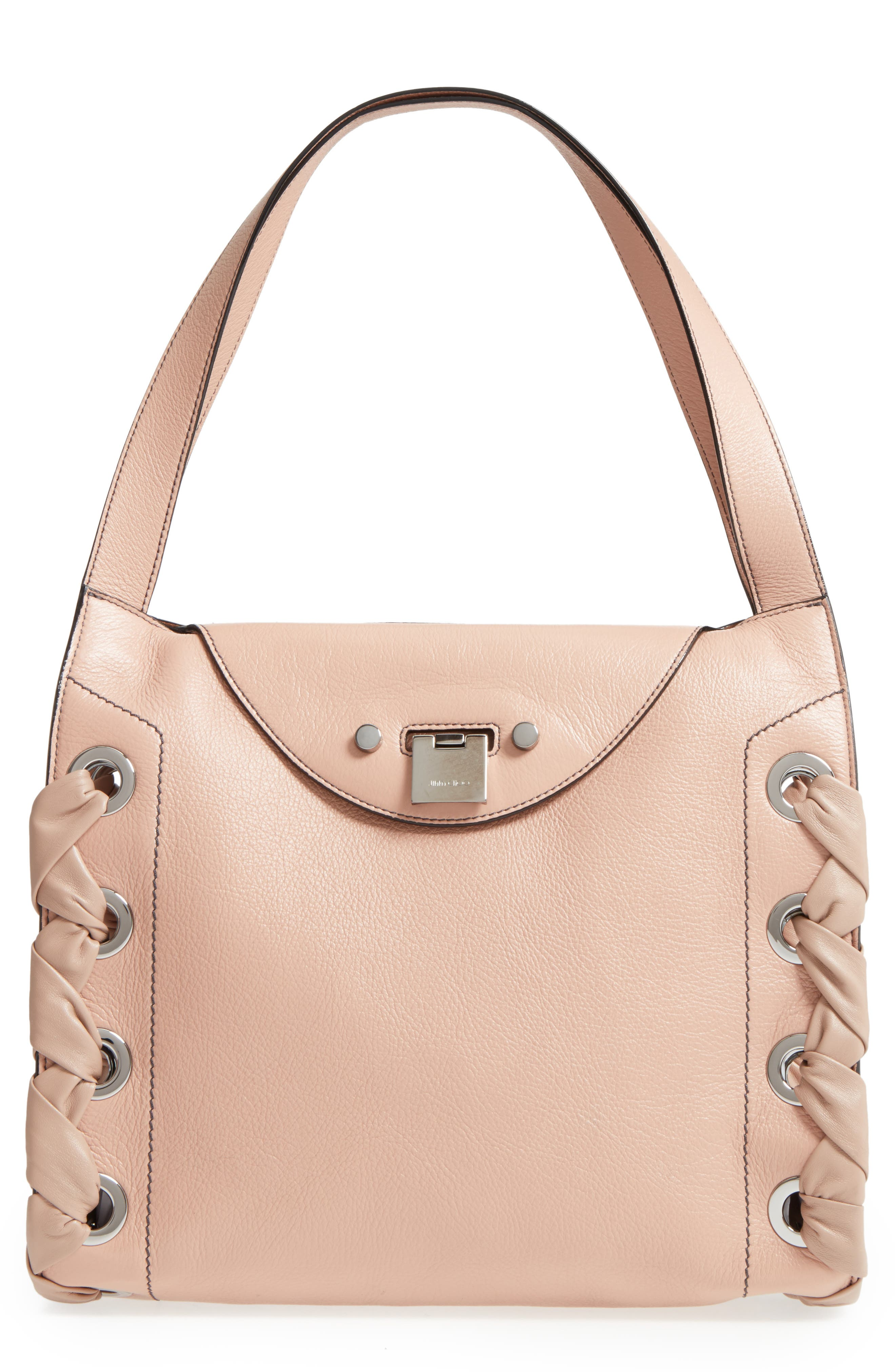 Rebel Leather Shoulder Bag,                             Main thumbnail 1, color,                             Ballet Pink