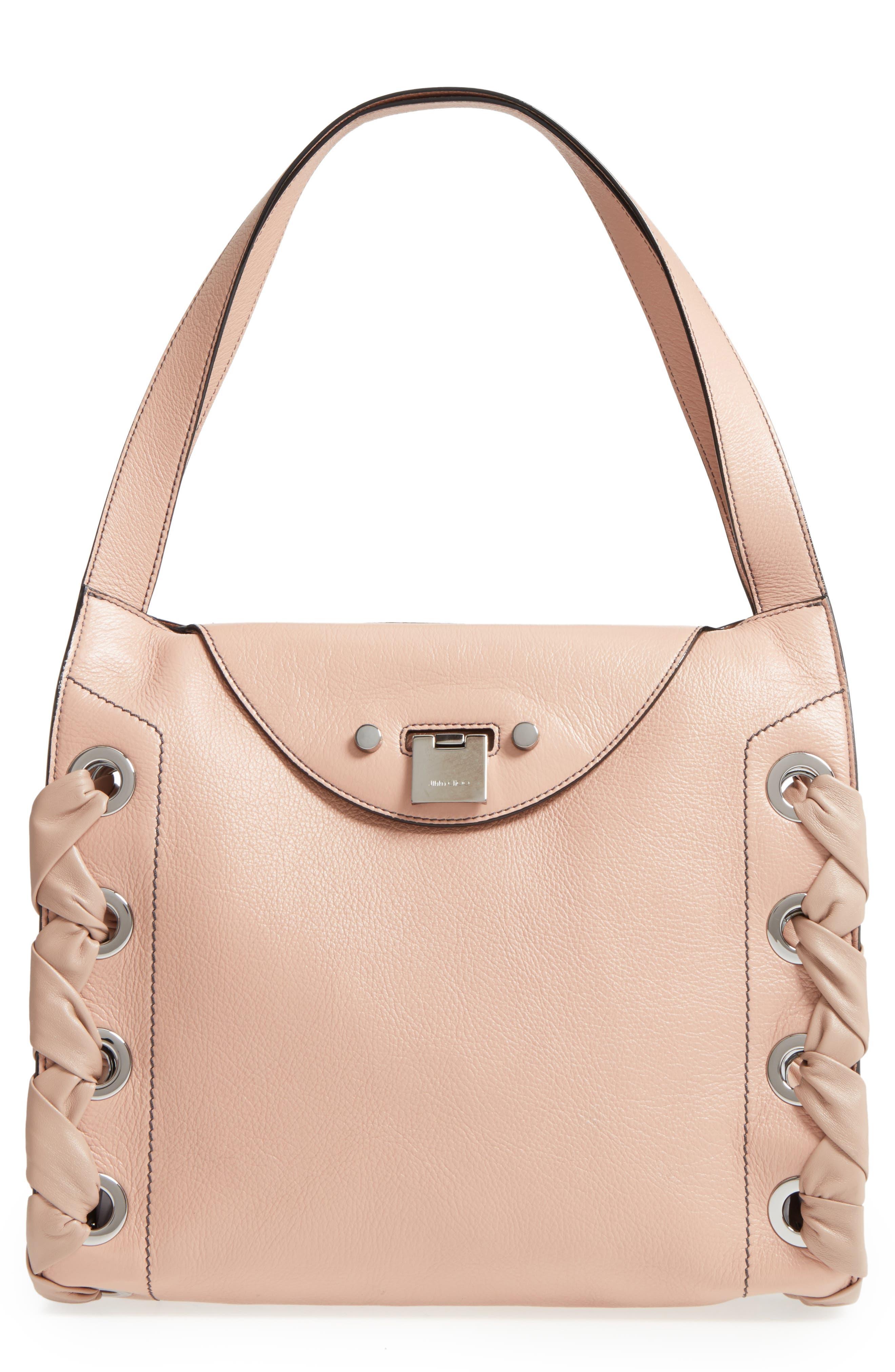 Rebel Leather Shoulder Bag,                         Main,                         color, Ballet Pink
