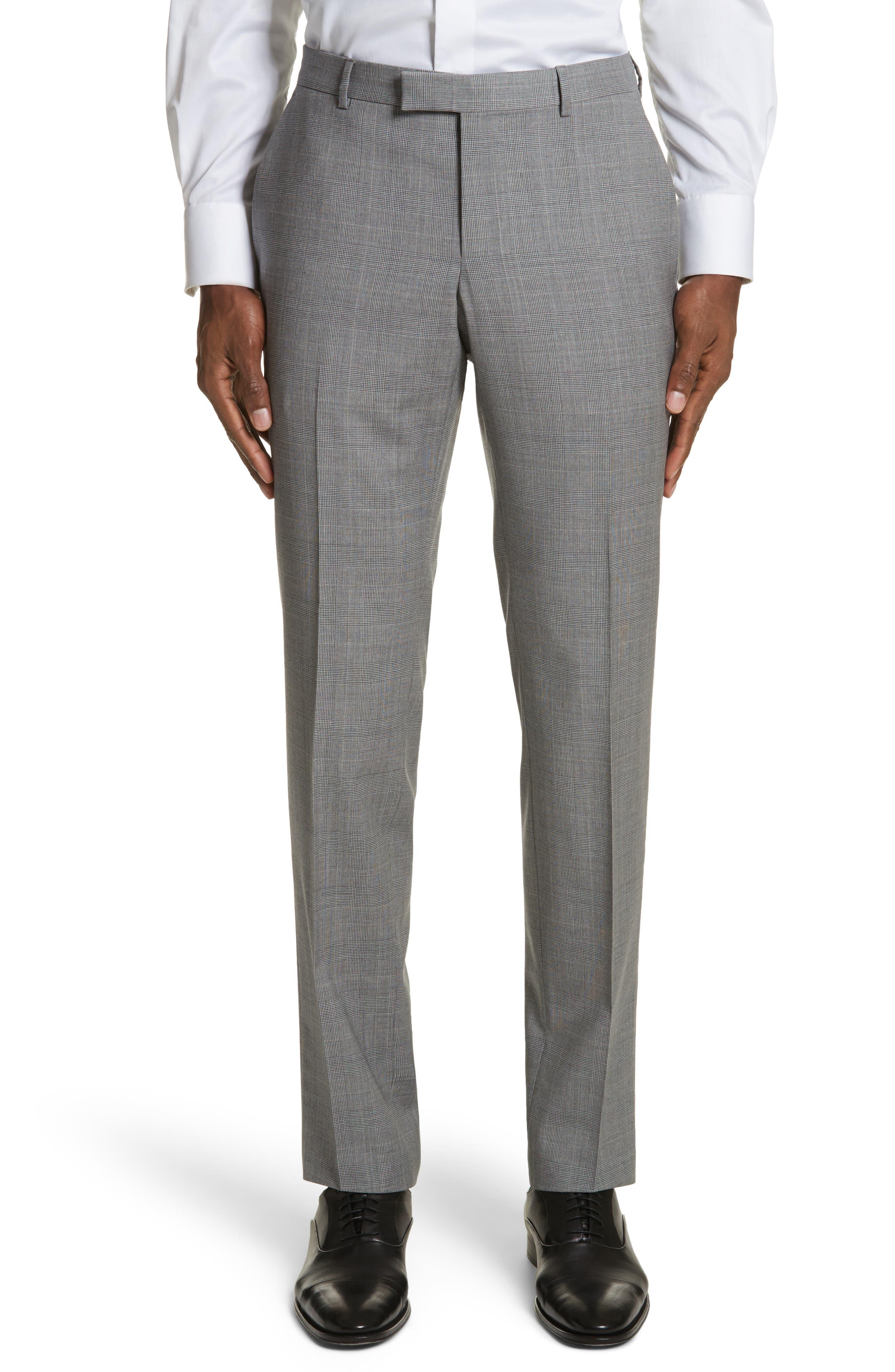Classic Fit Plaid Wool Suit,                             Alternate thumbnail 6, color,                             Dark Grey Check