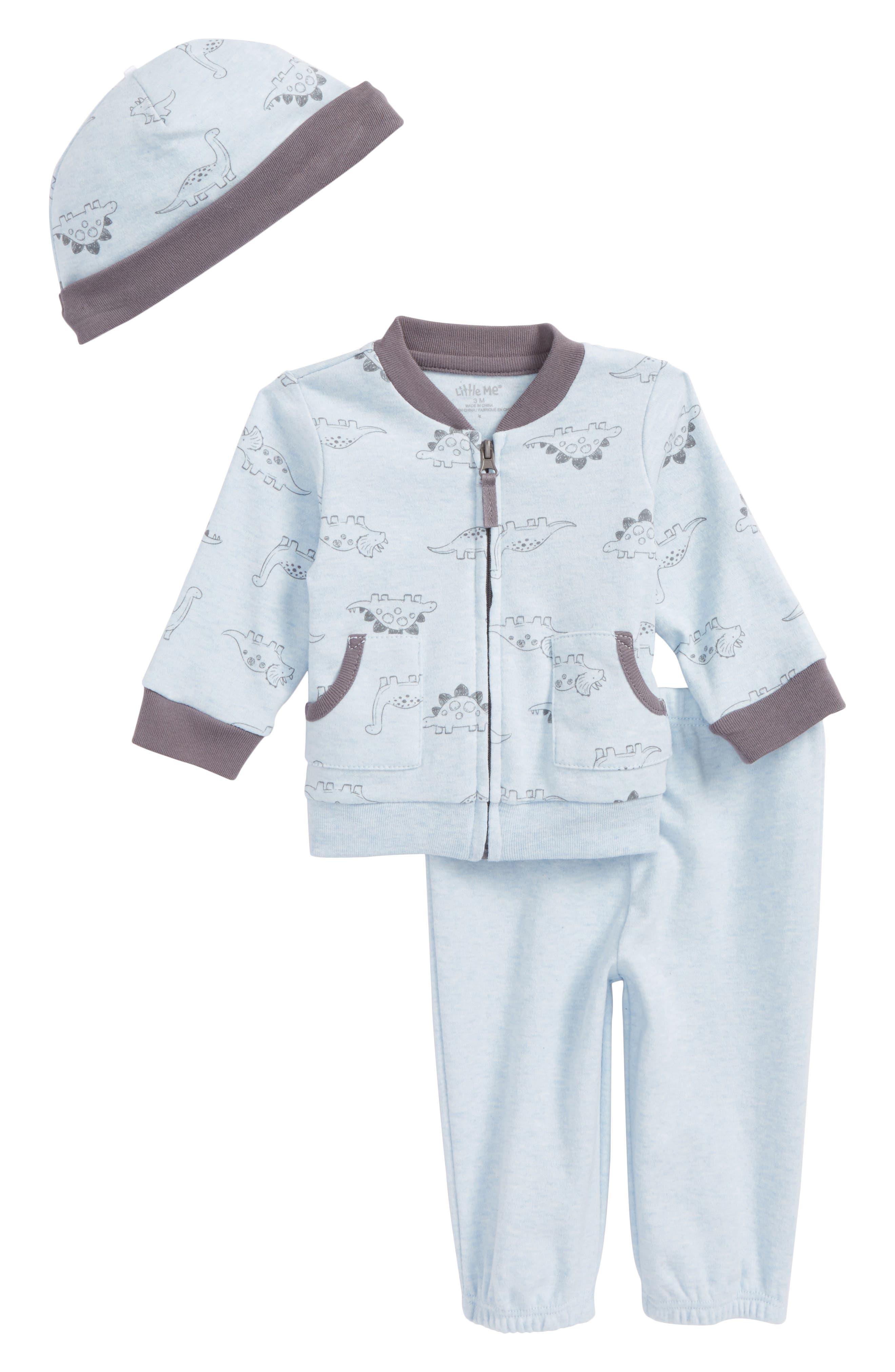 Main Image - Little Me Dino Jacket, Jogger Pants & Hat Set (Baby Boys)
