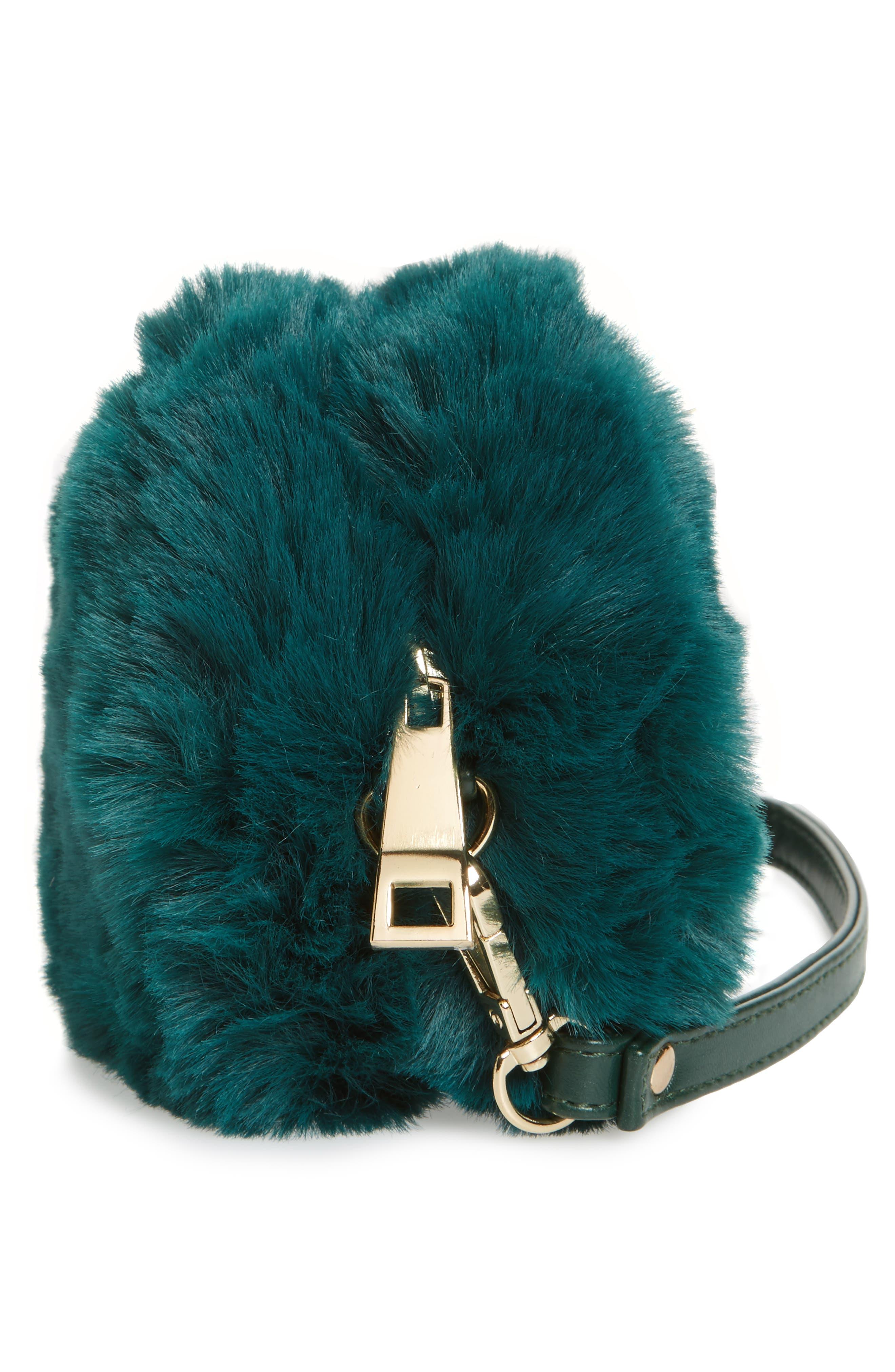 Macaron Faux Fur Wristlet,                             Alternate thumbnail 4, color,                             Green