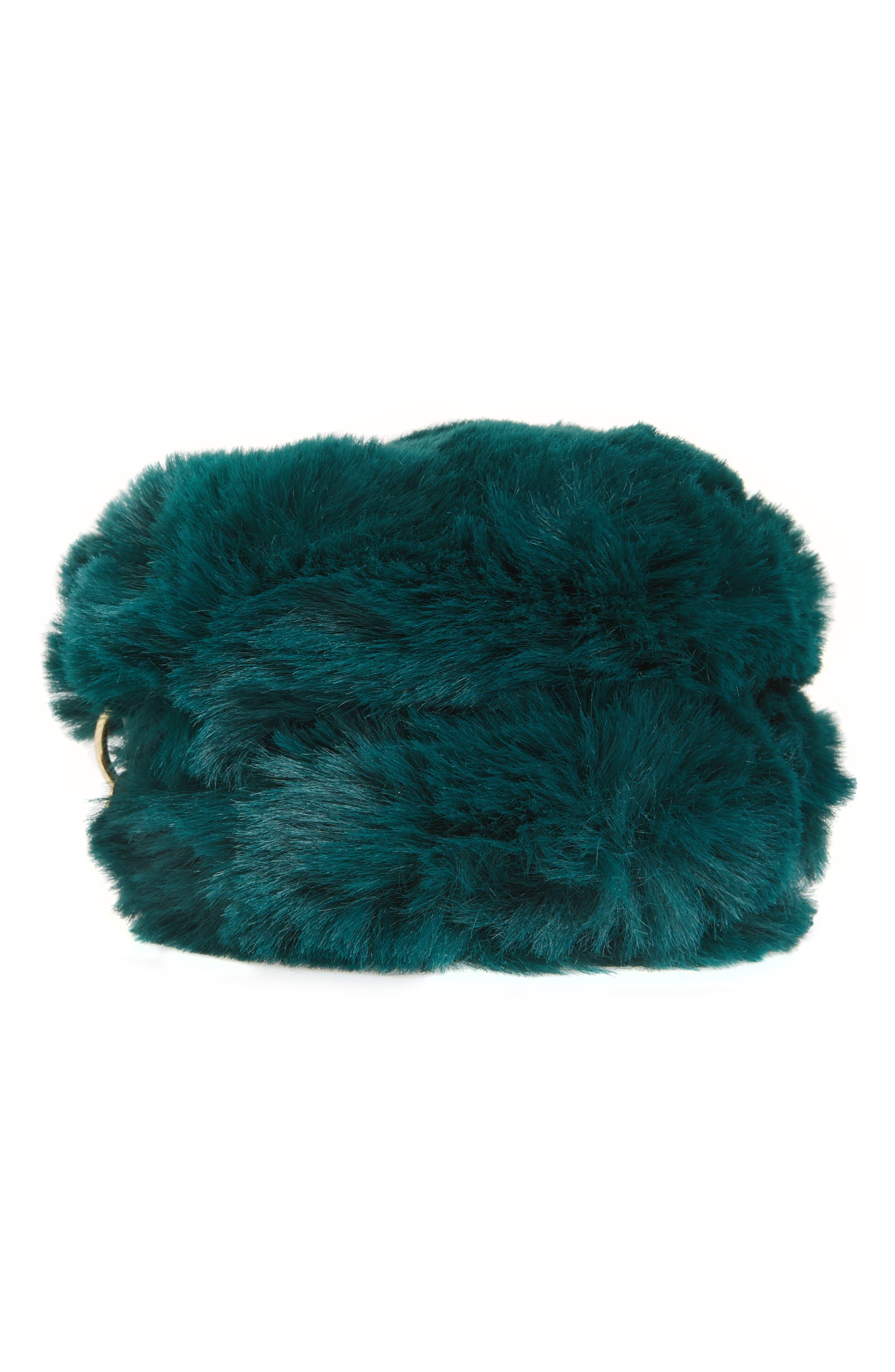 Macaron Faux Fur Wristlet,                             Alternate thumbnail 5, color,                             Green