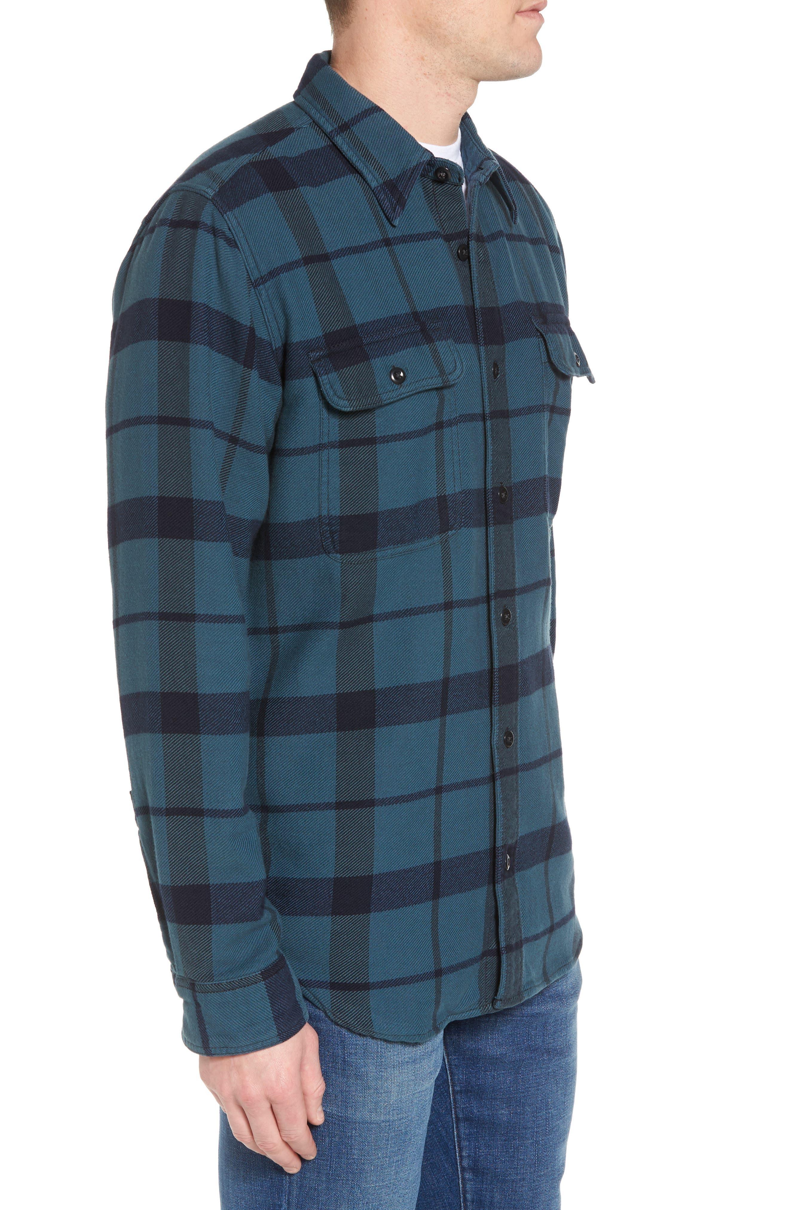 'Vintage Flannel' Regular Fit Plaid Cotton Shirt,                             Alternate thumbnail 8, color,                             Brown/ Navy