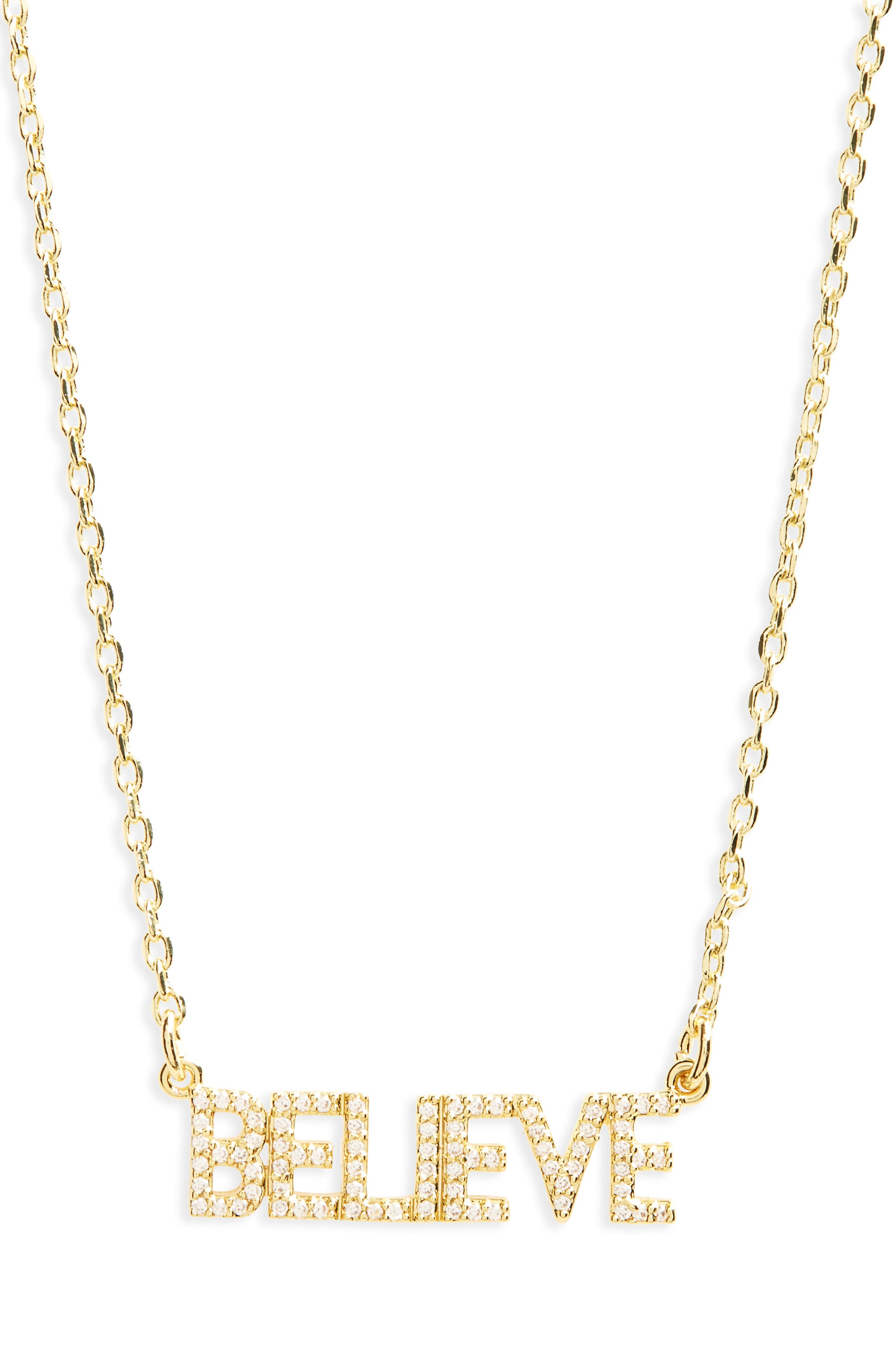 Believe Necklace,                             Main thumbnail 1, color,                             Gold
