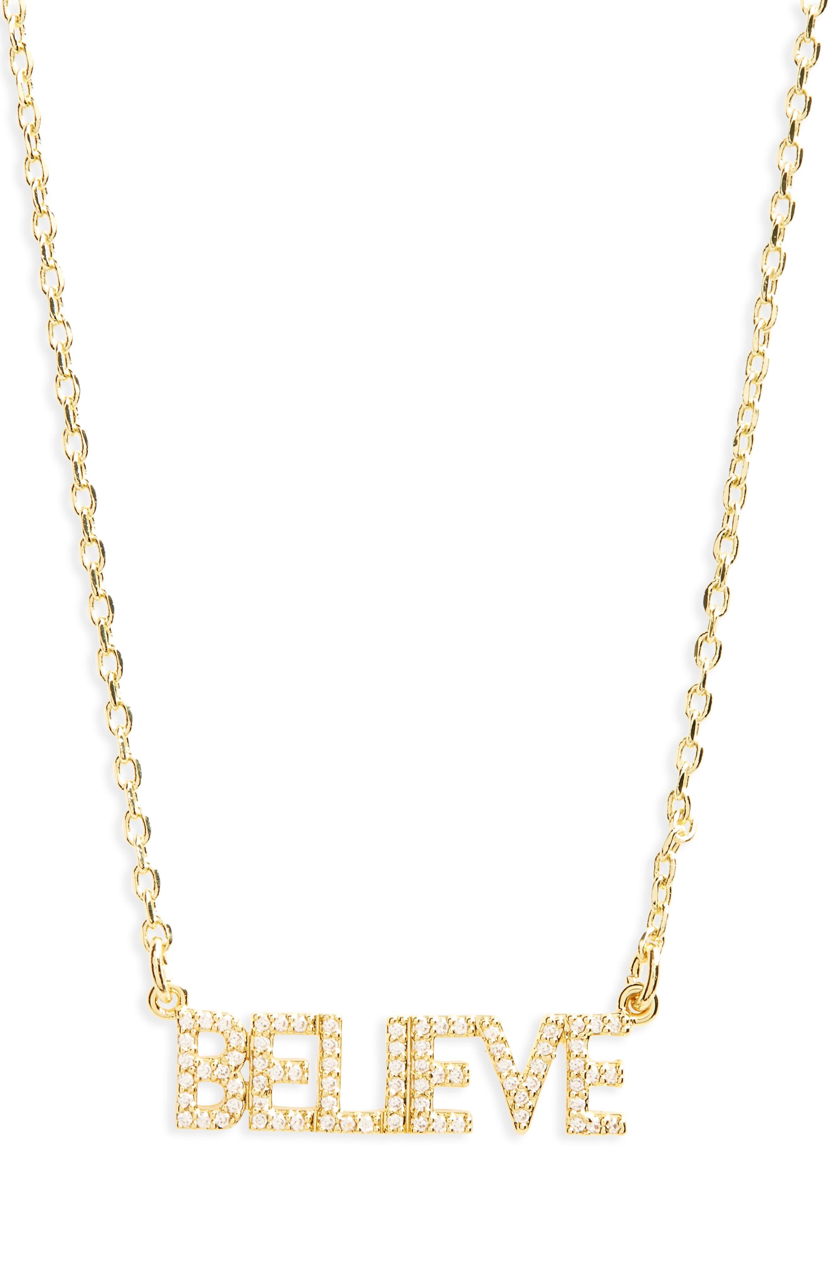Believe Necklace,                         Main,                         color, Gold