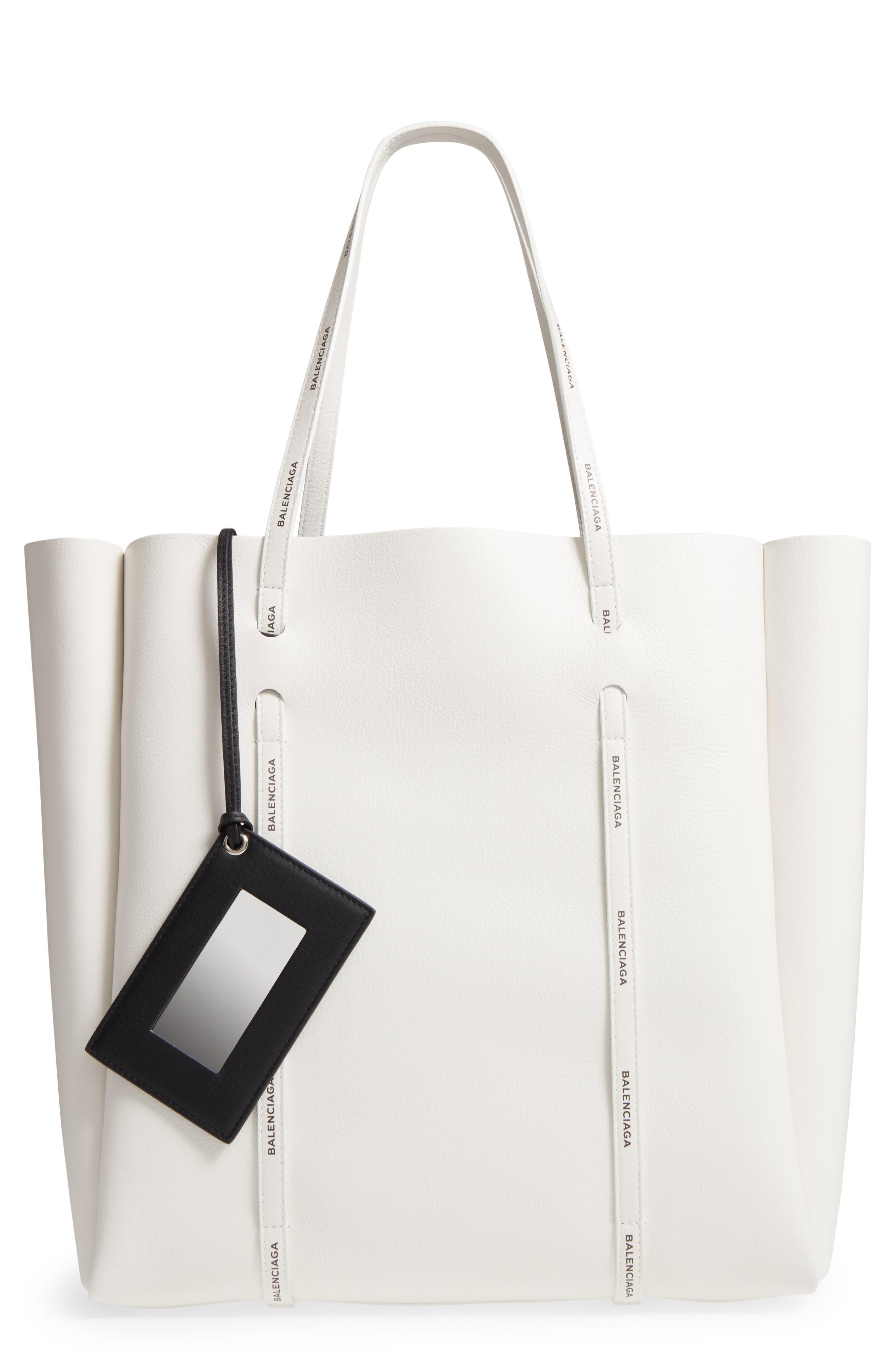 Medium Everyday Calfskin Tote,                         Main,                         color, Blanc/ Black
