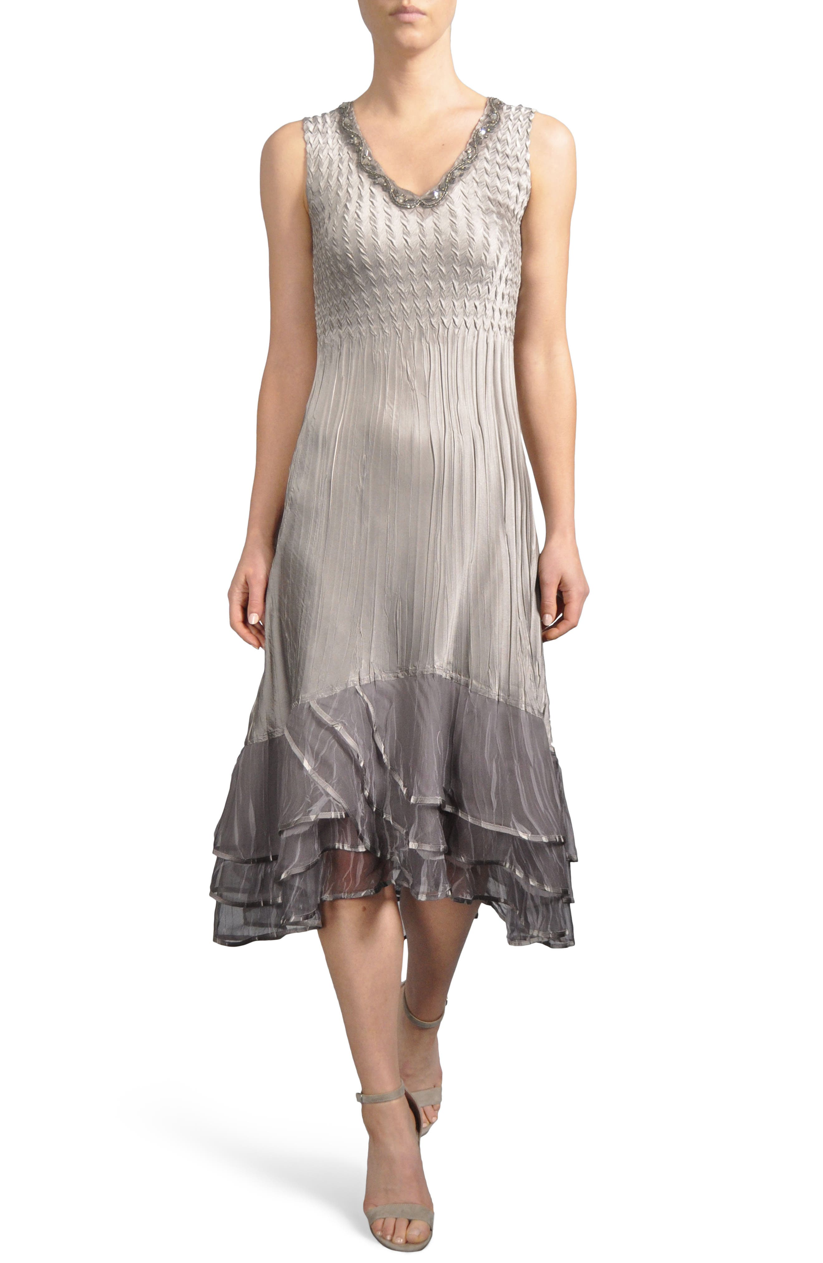 Embellished Tiered Hem Dress With Jacket,                             Alternate thumbnail 2, color,                             Oyster Smoke Ombre