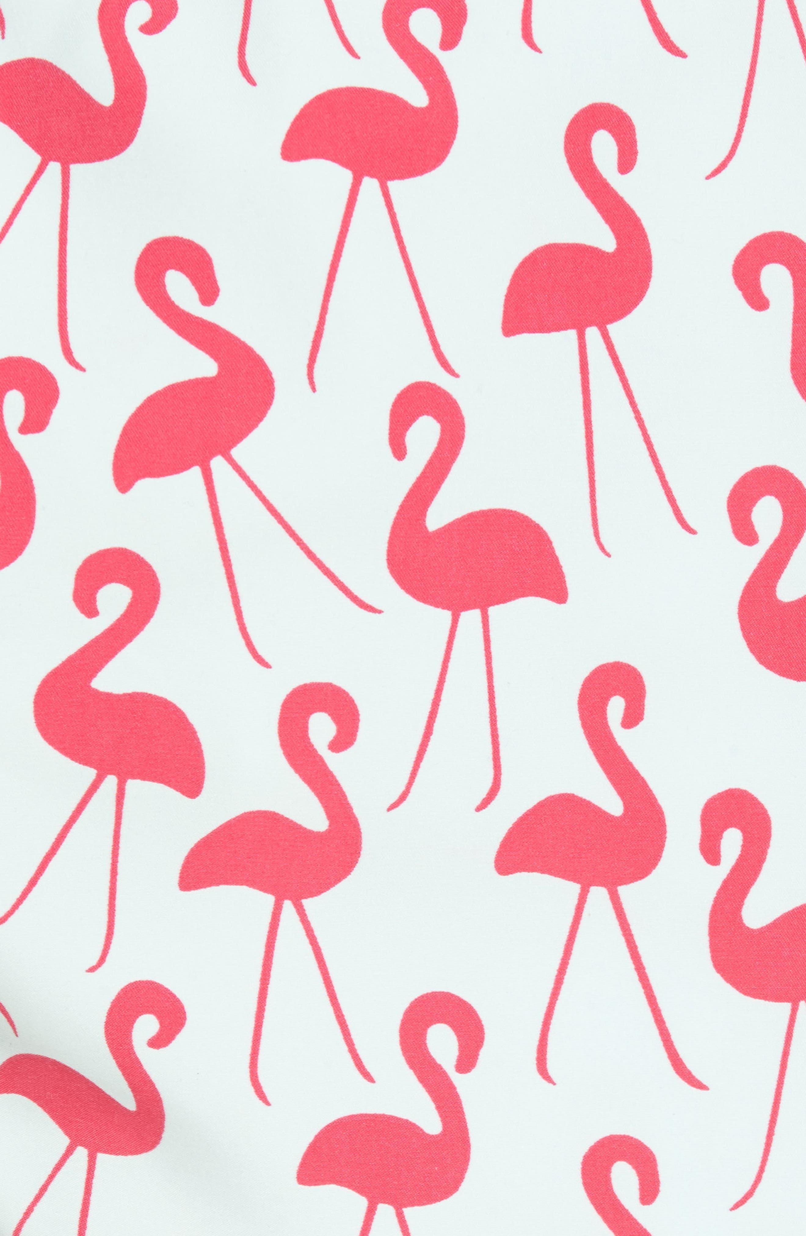Flamingo Print Swim Trunks,                             Alternate thumbnail 5, color,                             Fuchsia