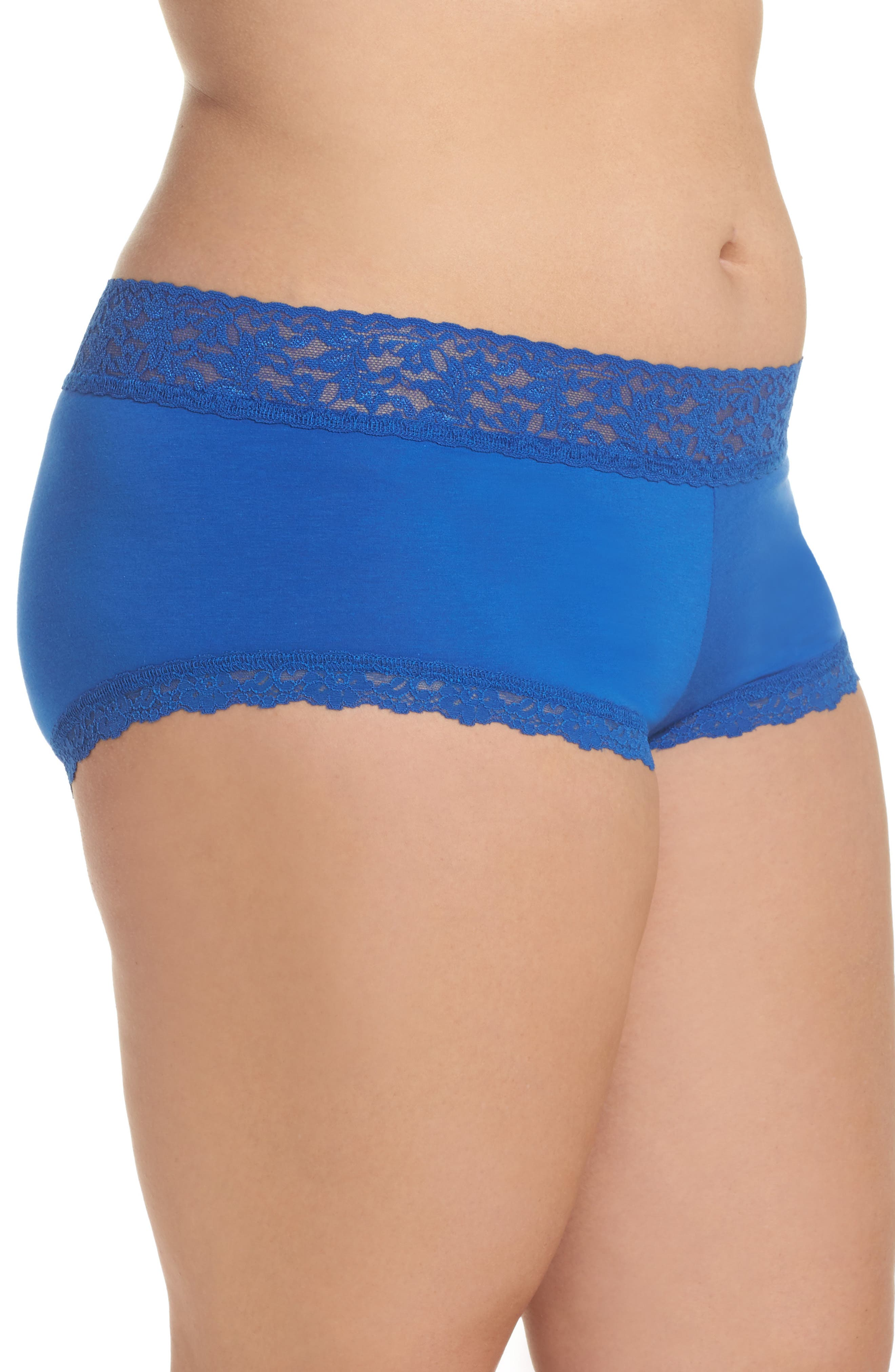 Stretch Cotton Boyshorts,                             Alternate thumbnail 3, color,                             Atlantis