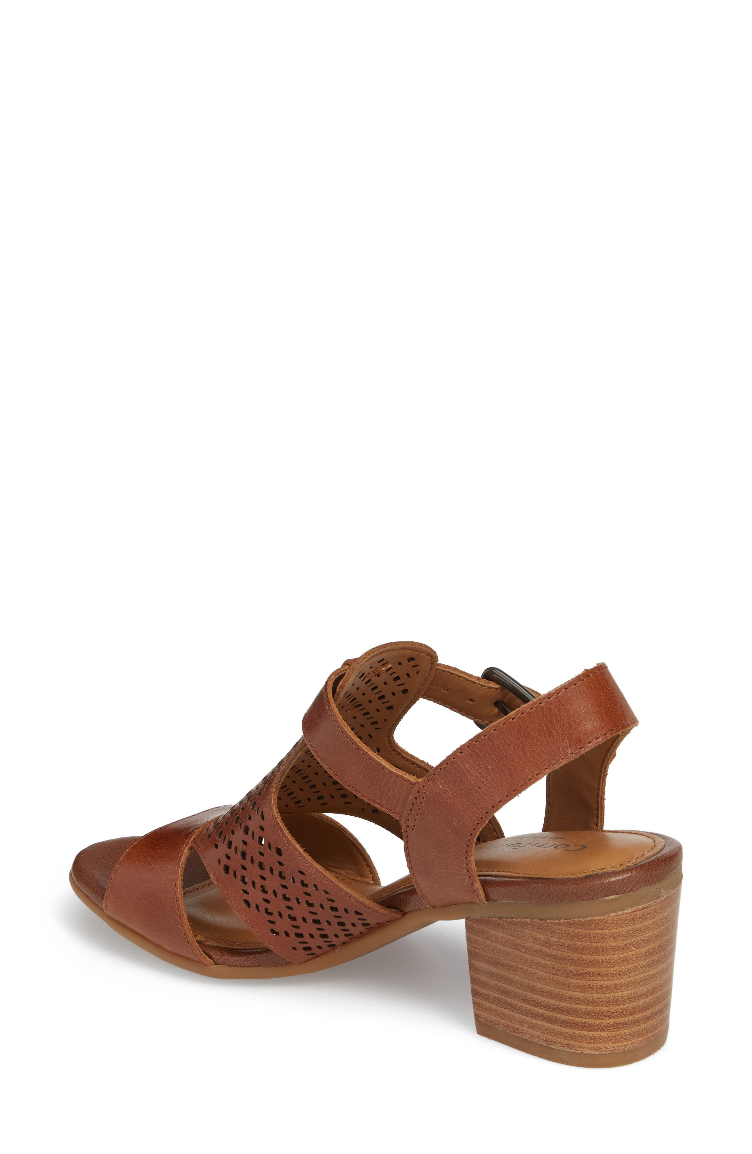 Amber Perforated Block Heel Sandal,                             Alternate thumbnail 2, color,                             Luggage Leather