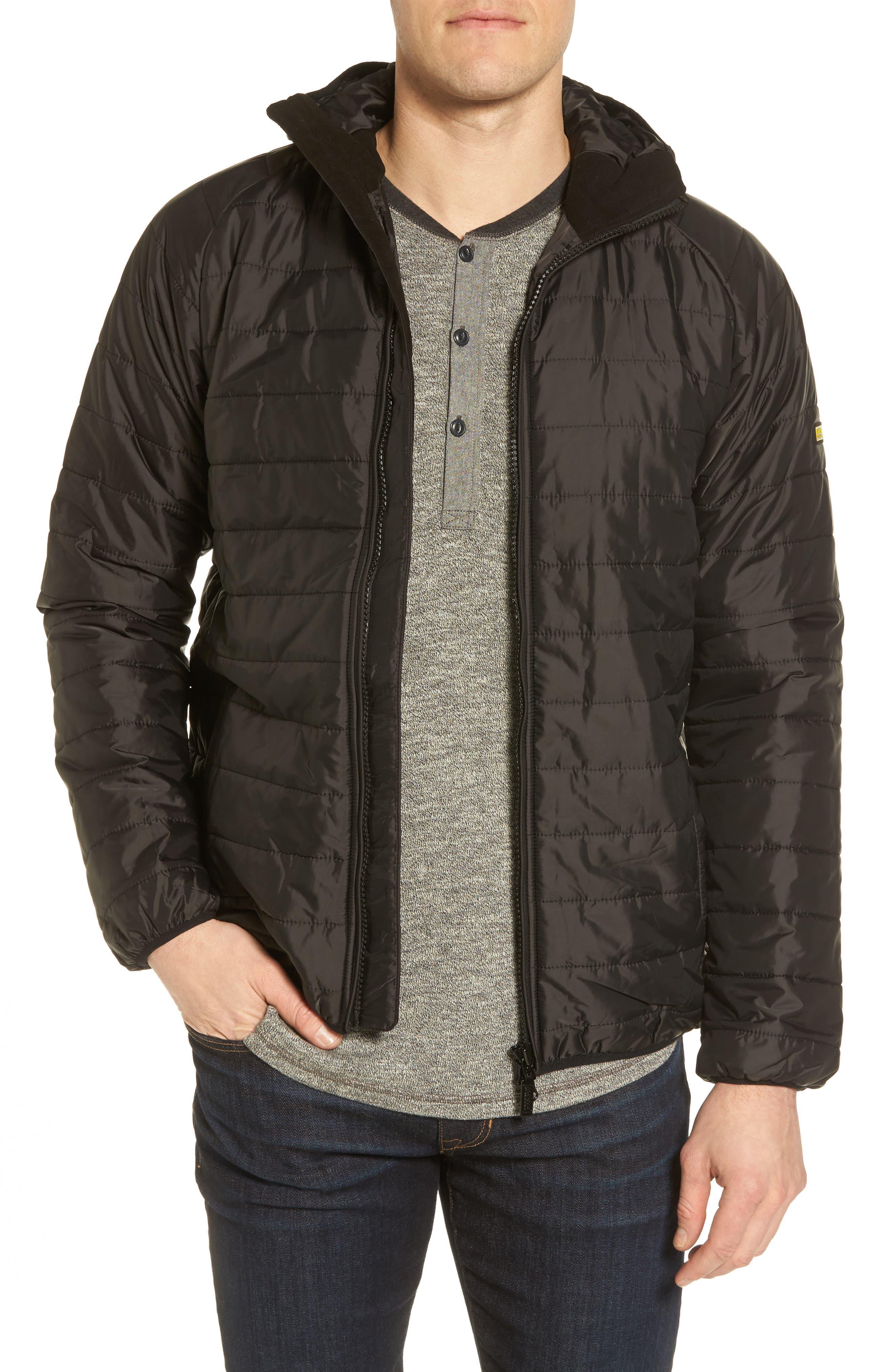 International Level Slim Fit Quilted Hooded Jacket,                         Main,                         color, Black